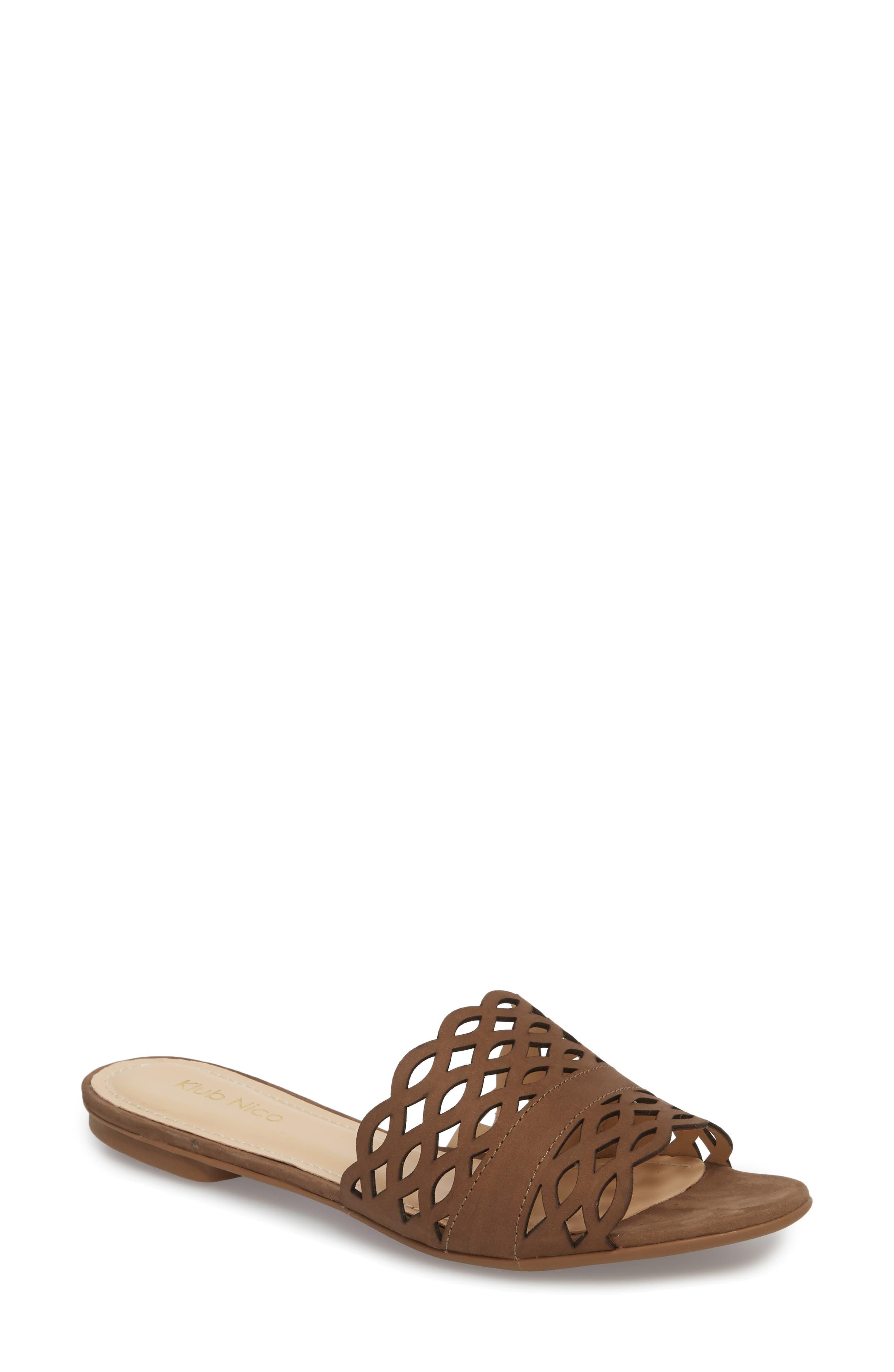 Gynne Slide Sandal,                             Main thumbnail 1, color,                             Truffle Leather