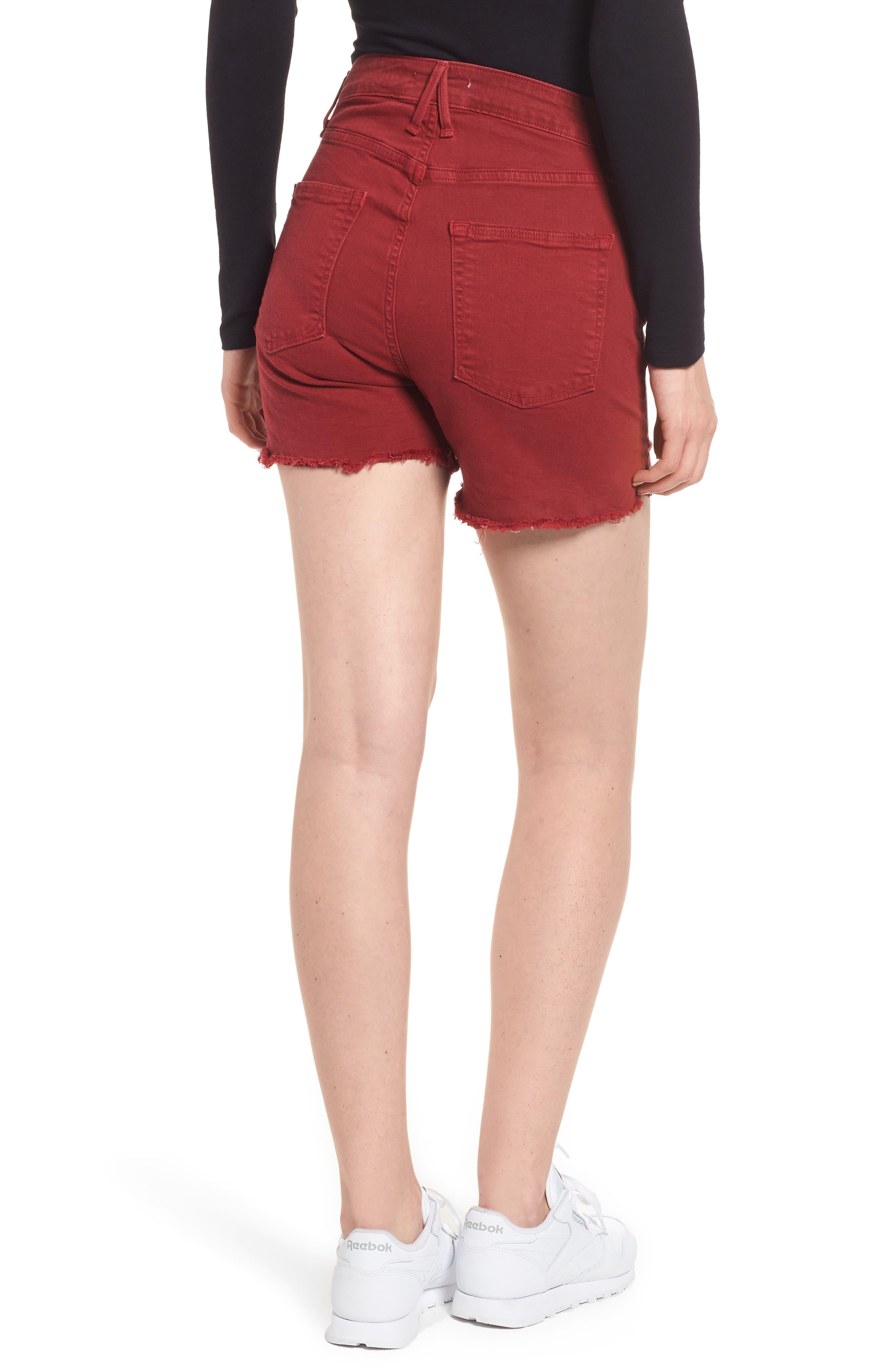 High Waist Cutoff Shorts,                             Alternate thumbnail 2, color,                             Red