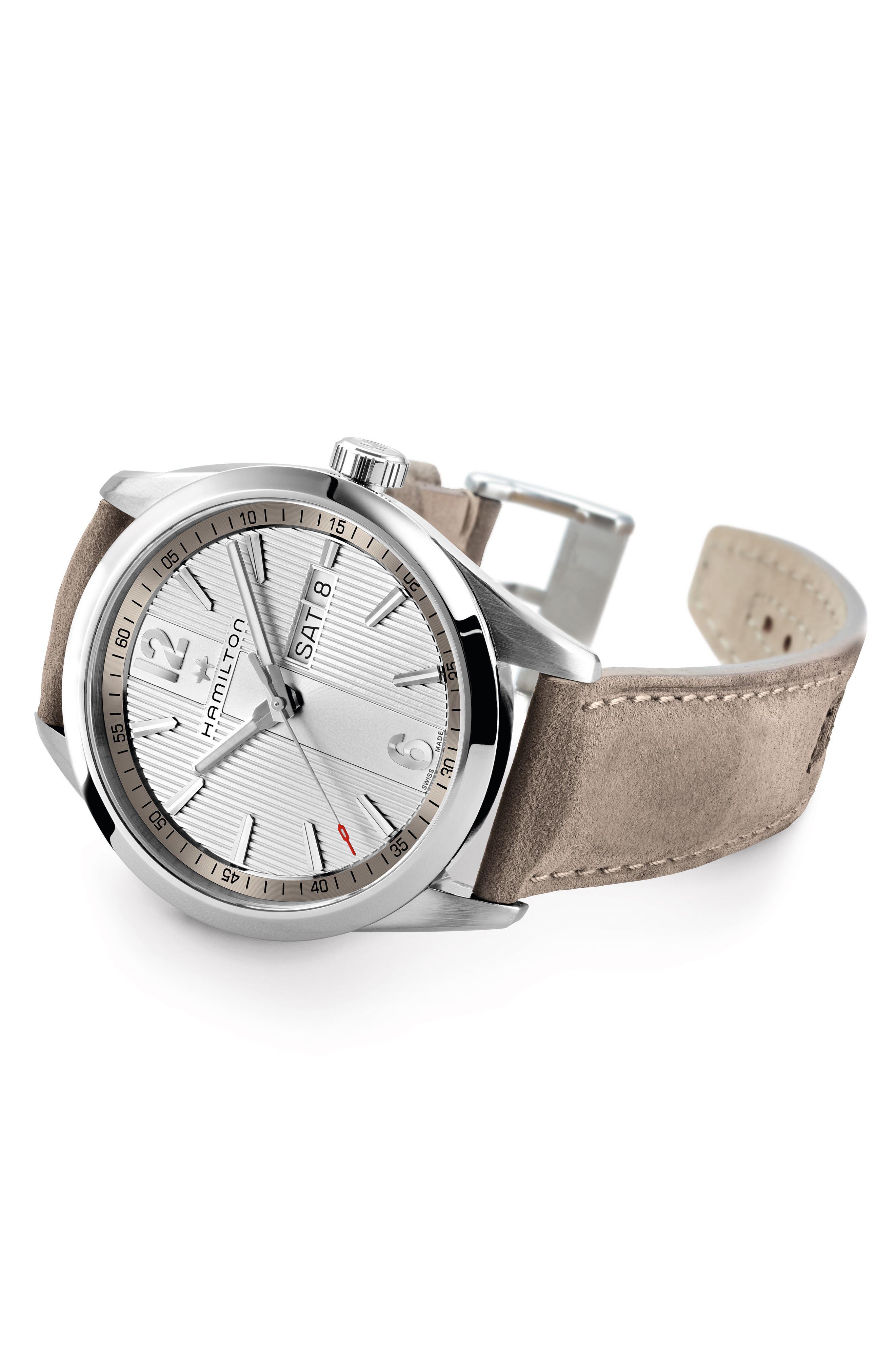 Alternate Image 2  - Hamilton Broadway Leather Strap Watch, 40mm