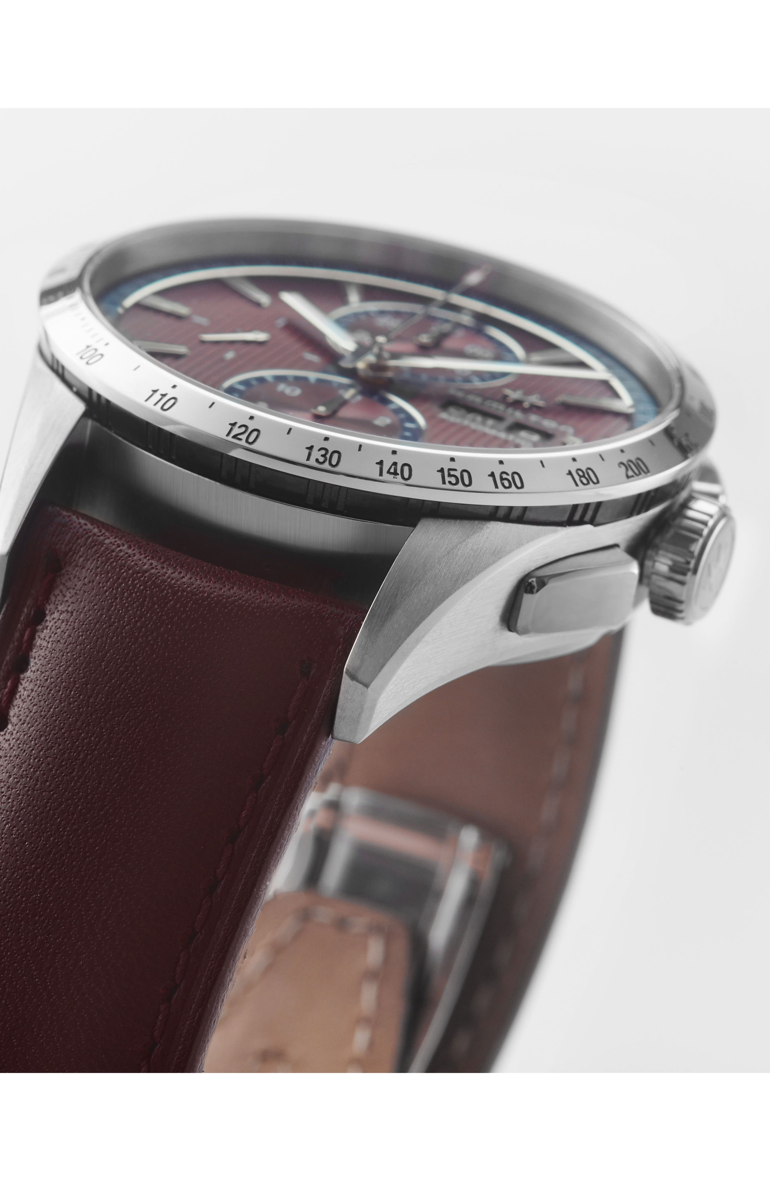 Broadway Automatic Chronograph Leather Strap Watch, 43mm,                             Alternate thumbnail 4, color,                             Aubergine/ Red/ Silver