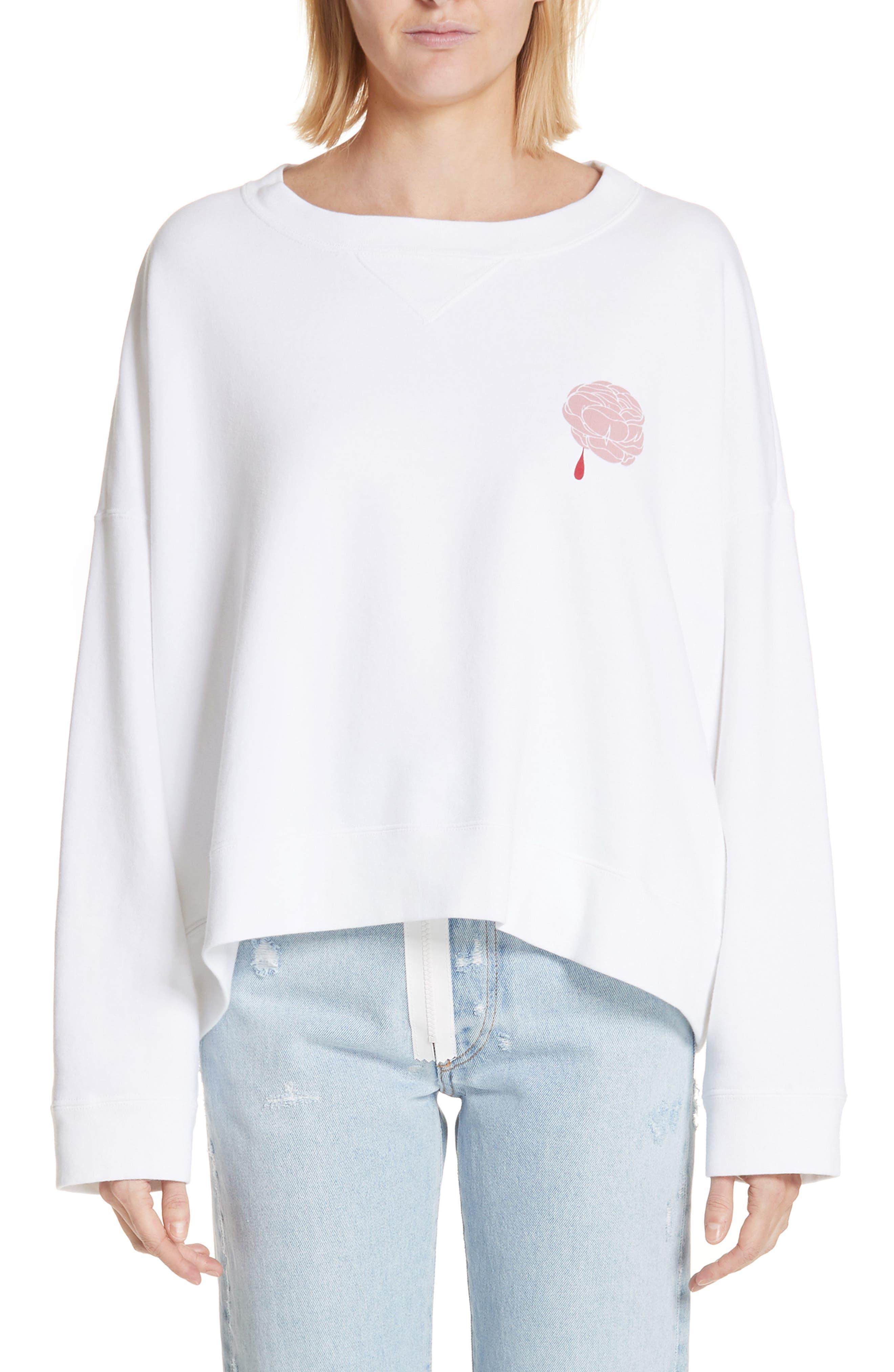 Print Rose Sweatshirt,                             Main thumbnail 1, color,                             White