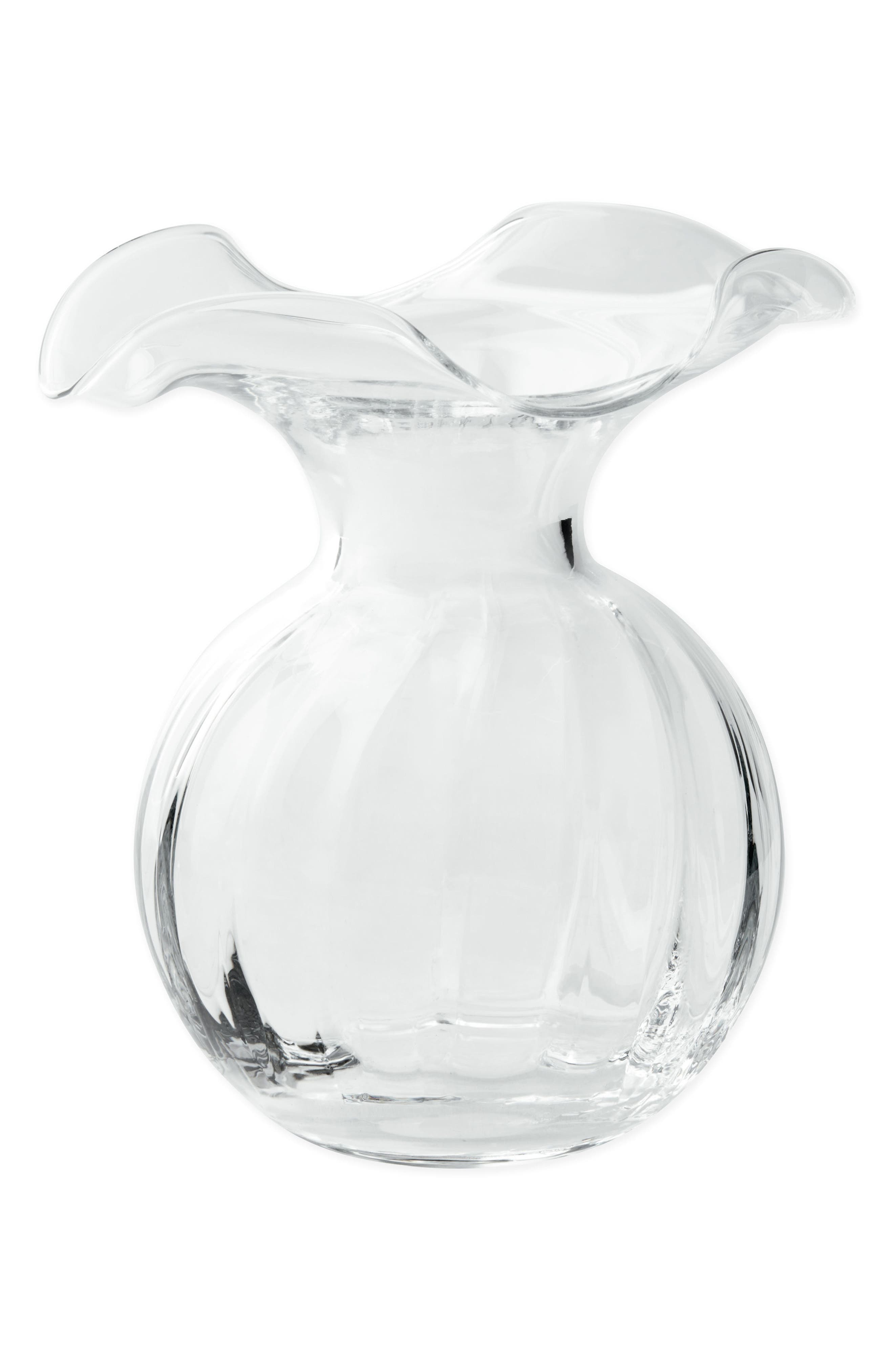 Hibiscus Fluted Vase,                         Main,                         color, Clear