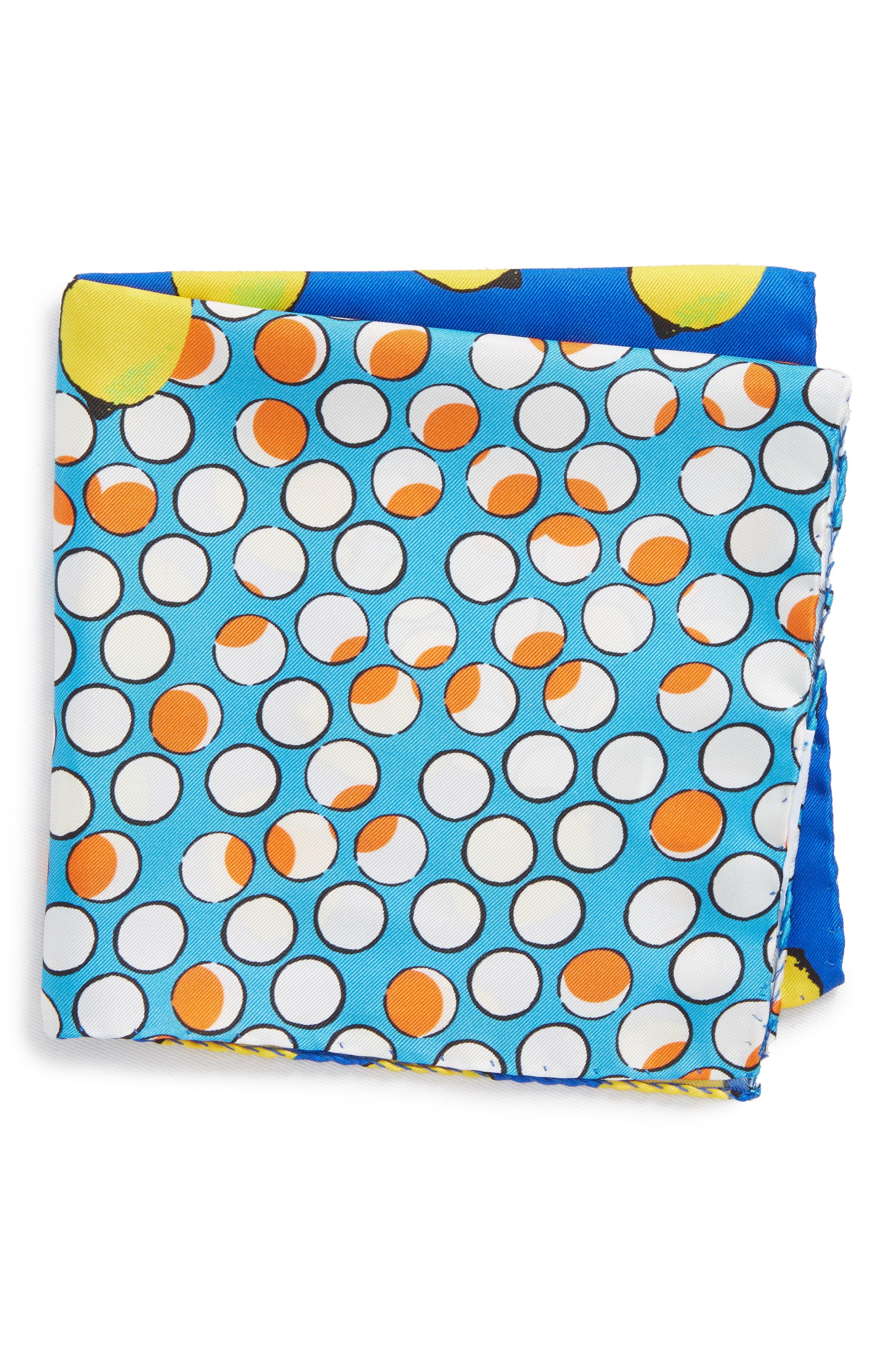 Dot Silk Pocket Square,                             Main thumbnail 1, color,                             Blue