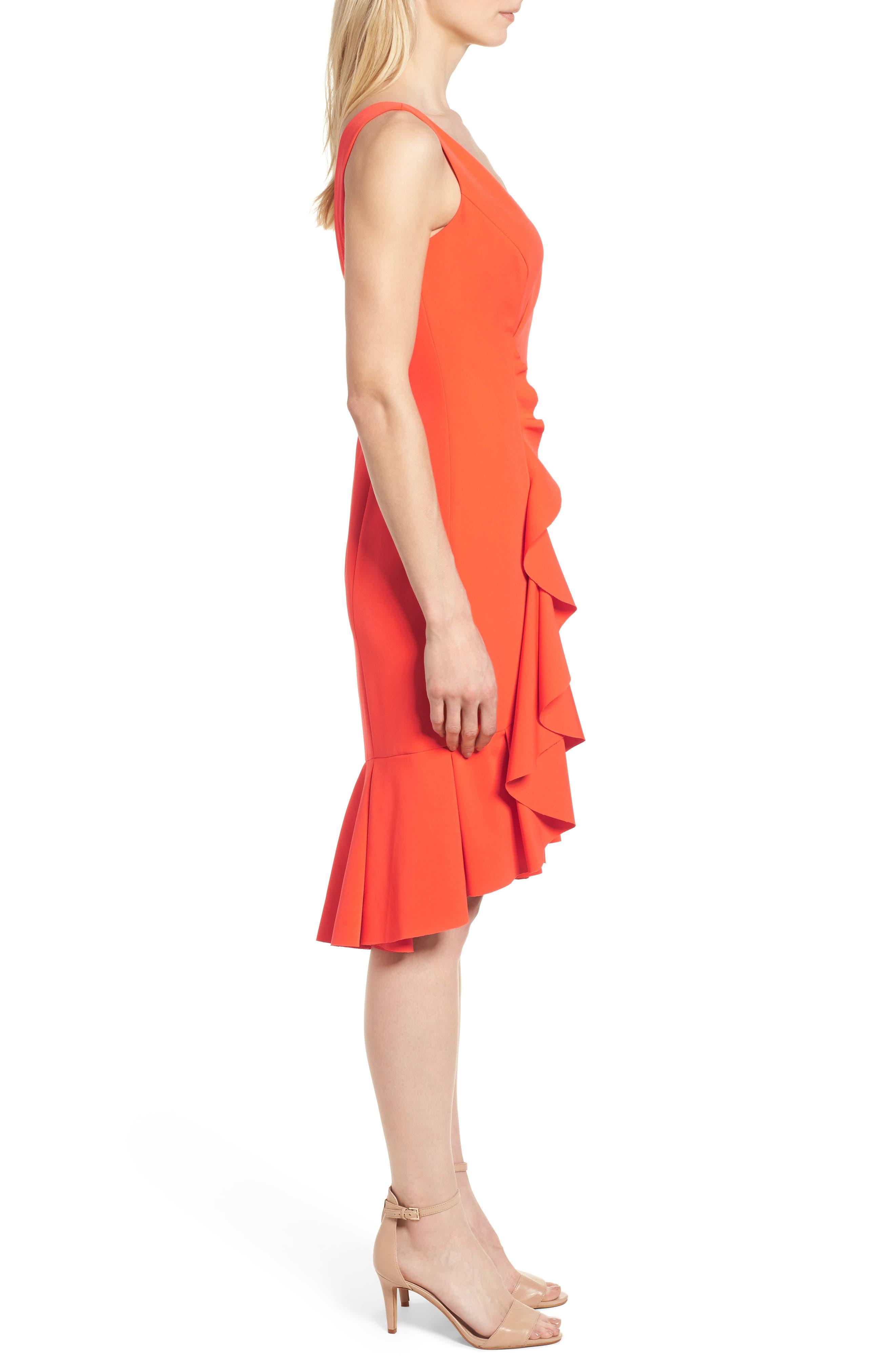 Laguna Ruffle Sheath Dress,                             Alternate thumbnail 3, color,                             Orange