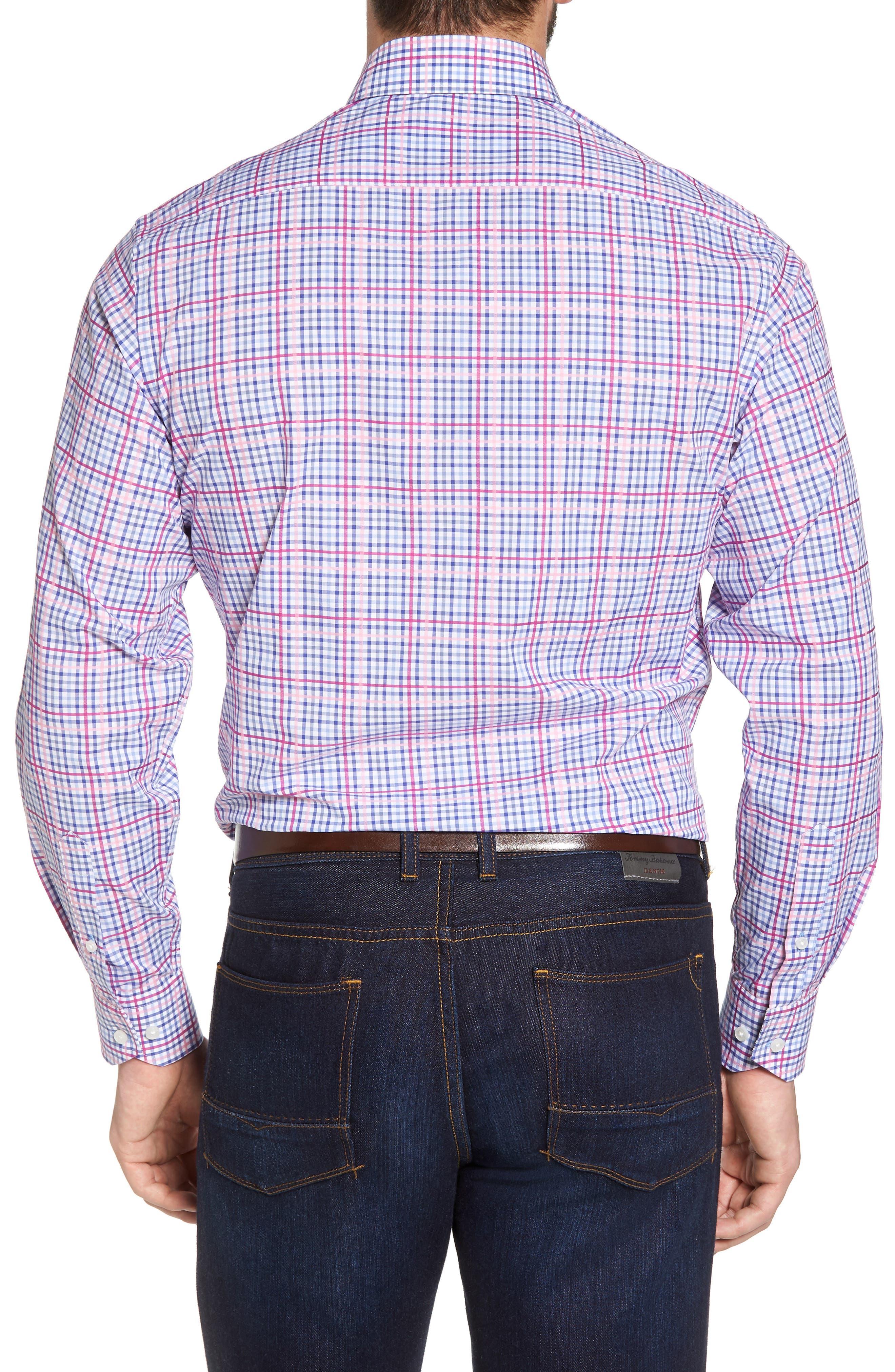 Aidren Regular Fit Plaid Sport Shirt,                             Alternate thumbnail 3, color,                             Pink