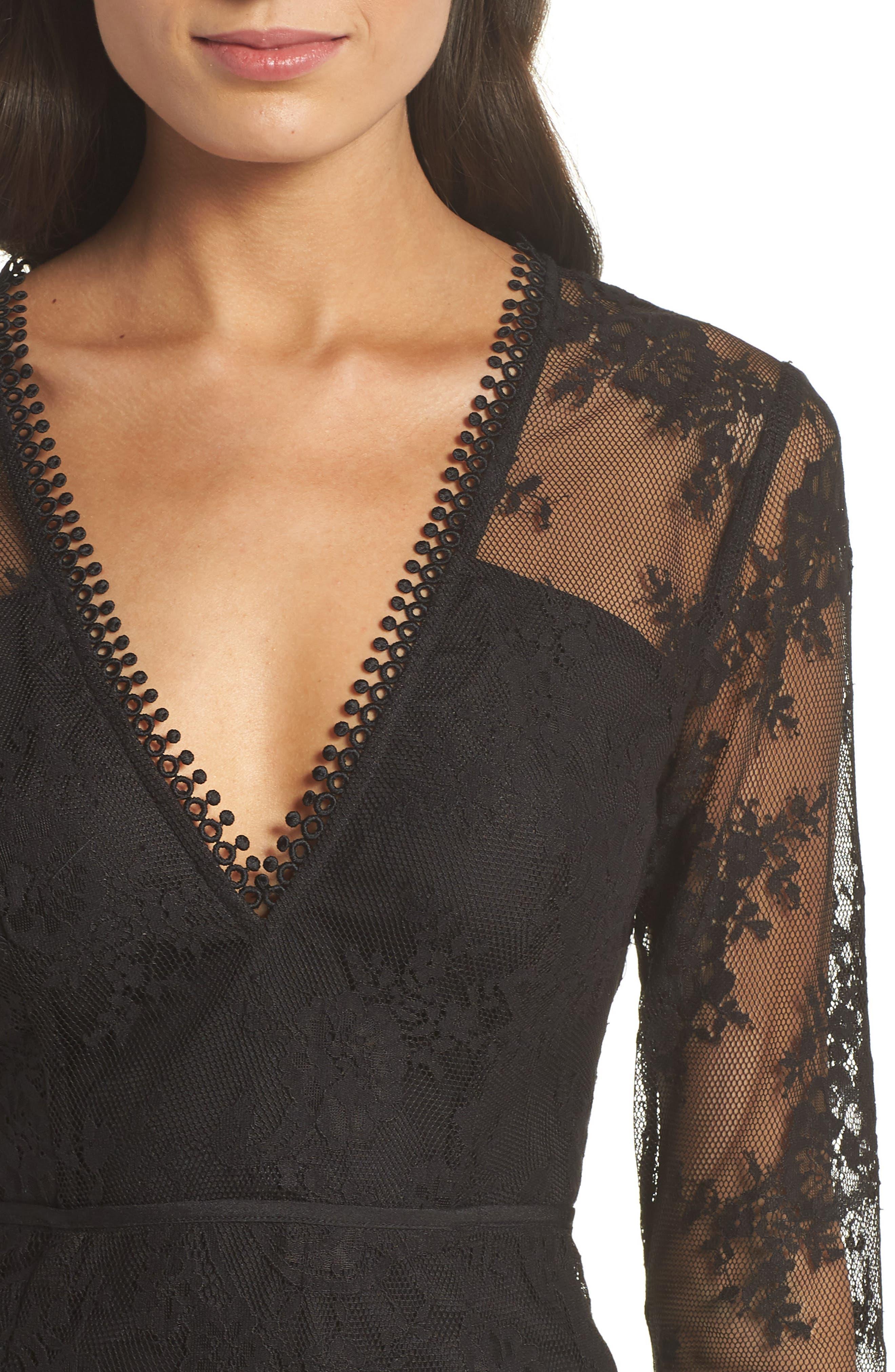 True Chemistry Lace Sheath Dress,                             Alternate thumbnail 4, color,                             Black