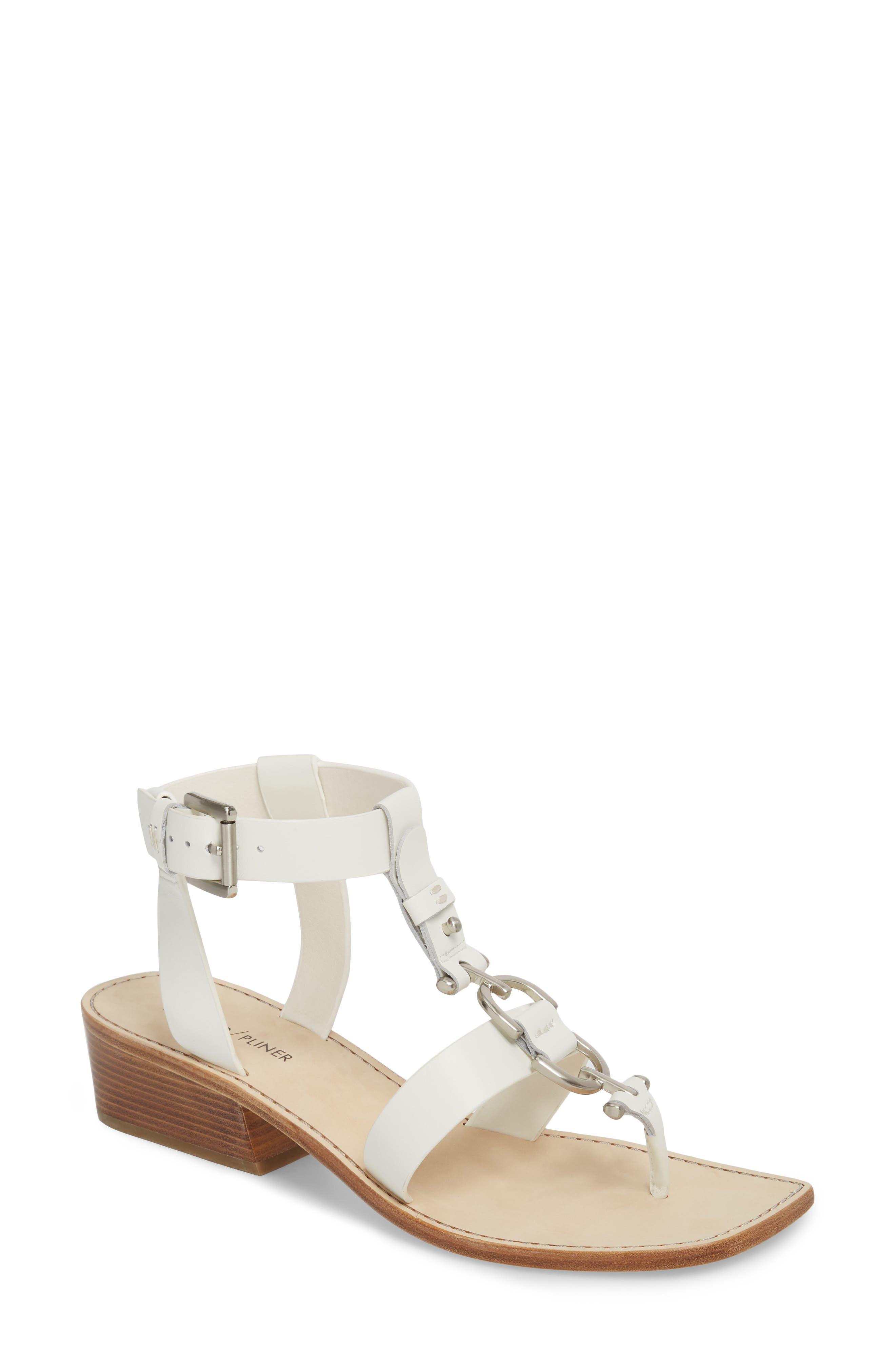 DONALD PLINER Dena Leather Sandal in White