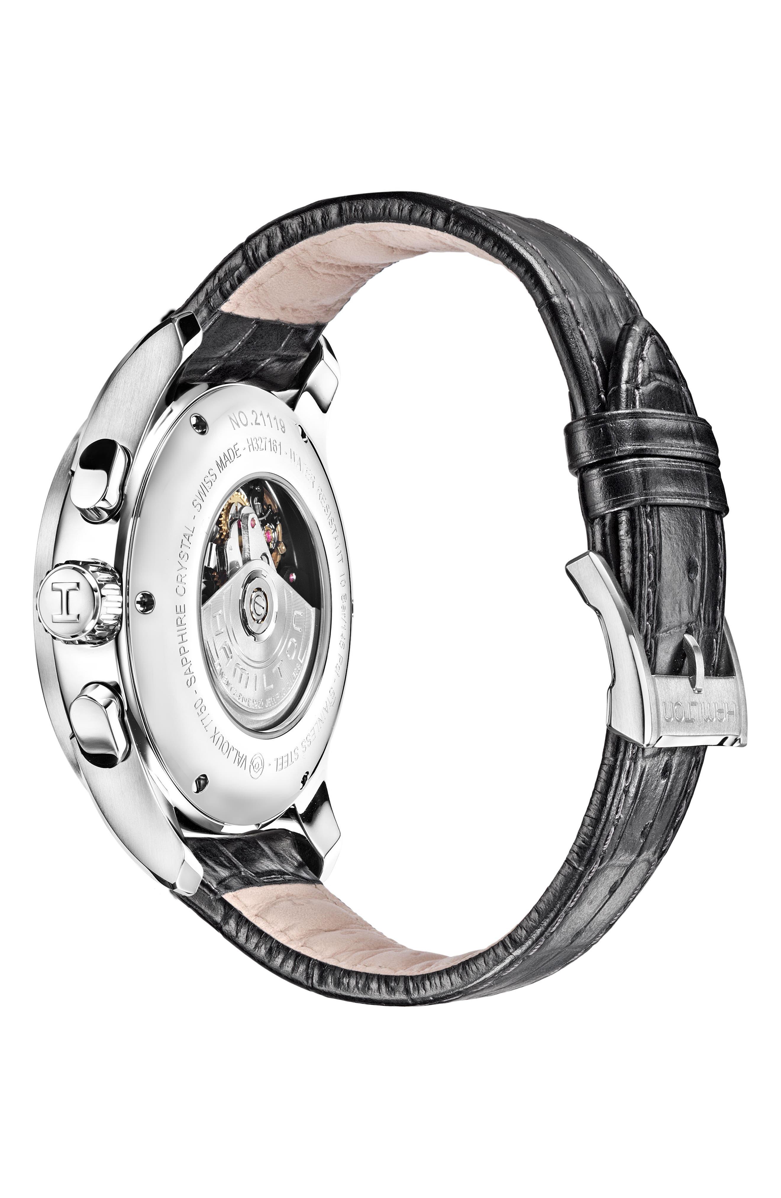 Alternate Image 2  - Hamilton Jazzmaster Maestro Automatic Chronograph Leather Strap Watch, 45mm