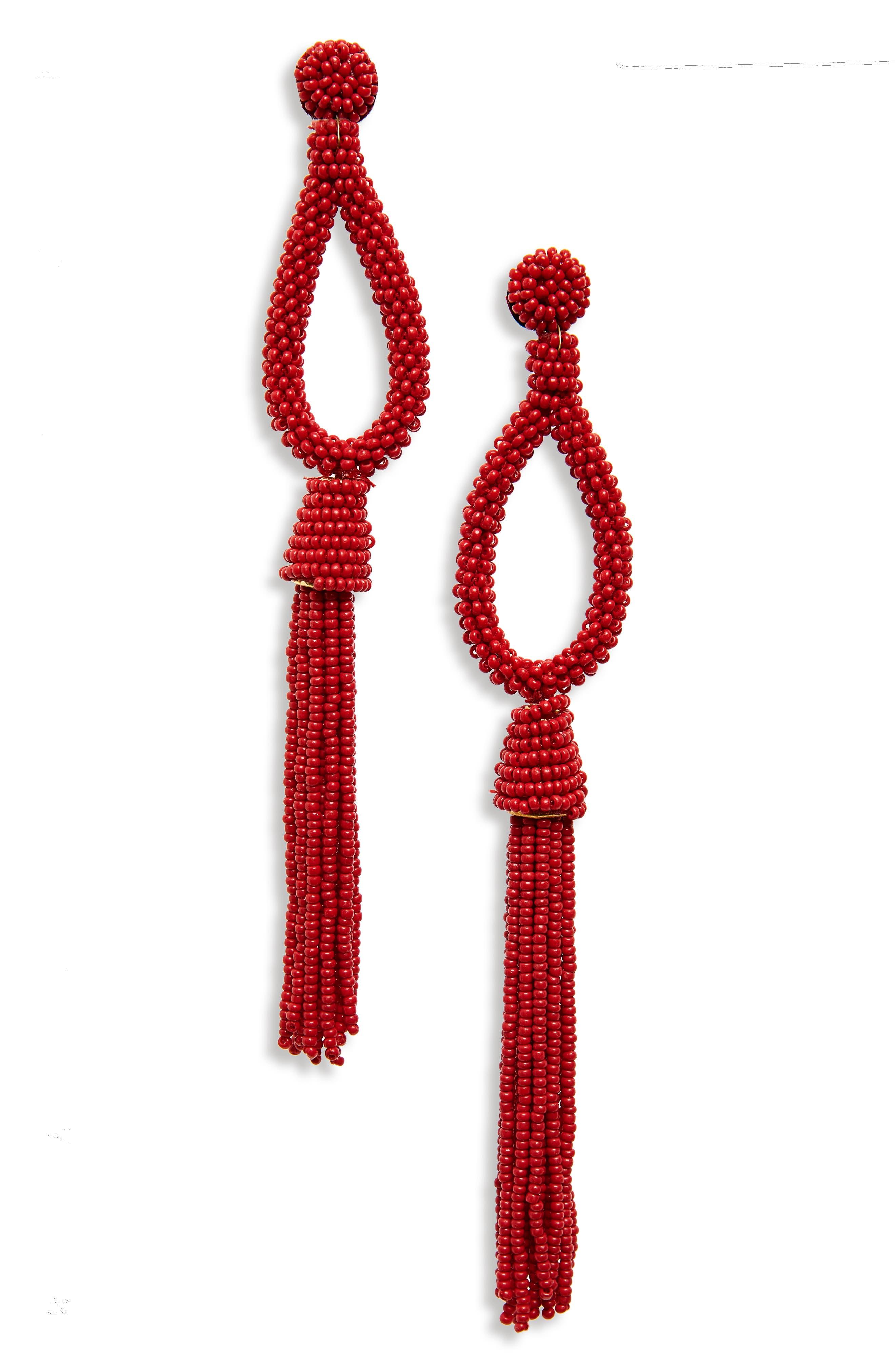 BP. Beaded Loop Tassel Drop Earrings