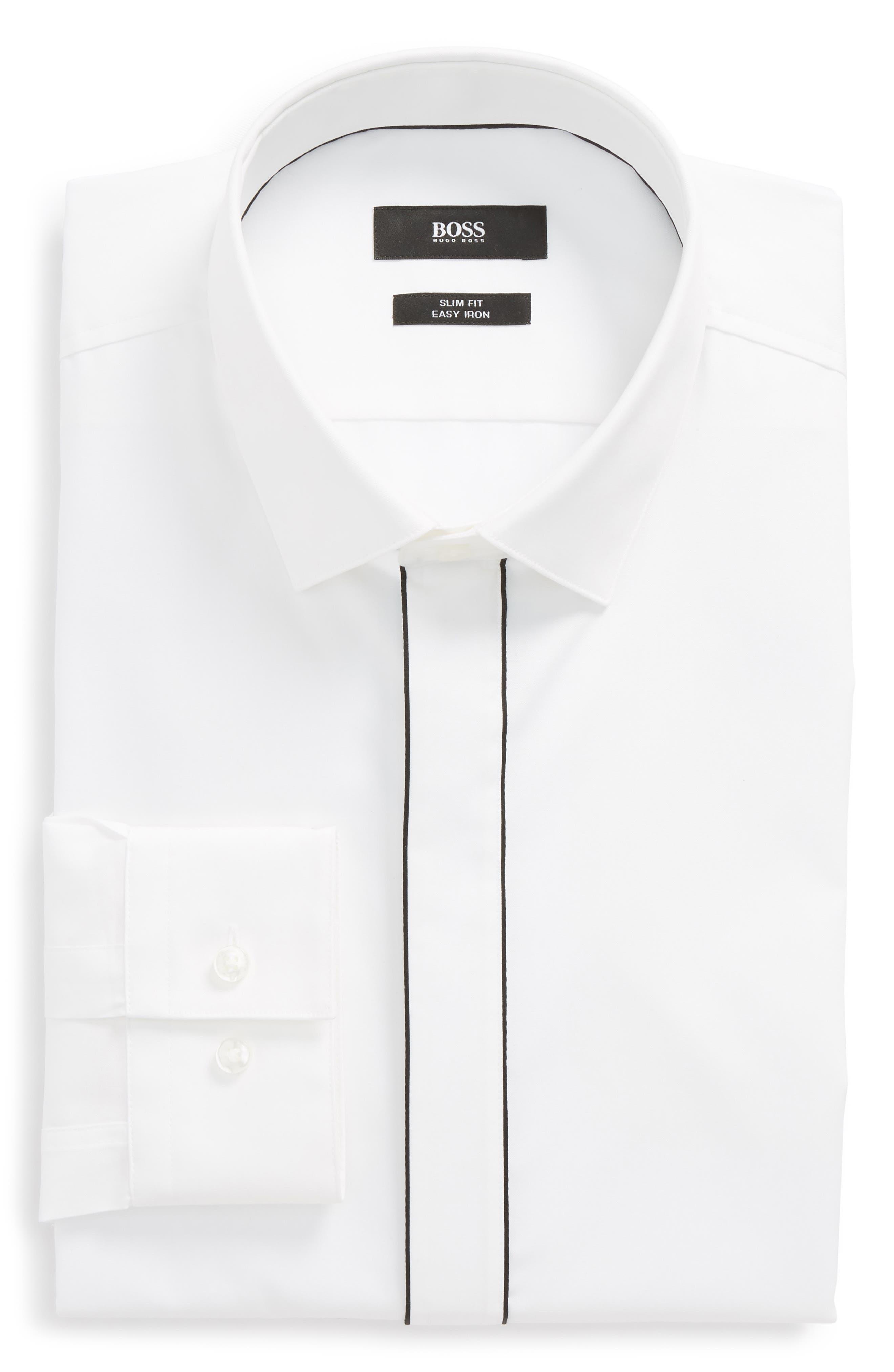 Jamir Slim Fit Easy Iron Solid Dress Shirt,                             Main thumbnail 1, color,                             White
