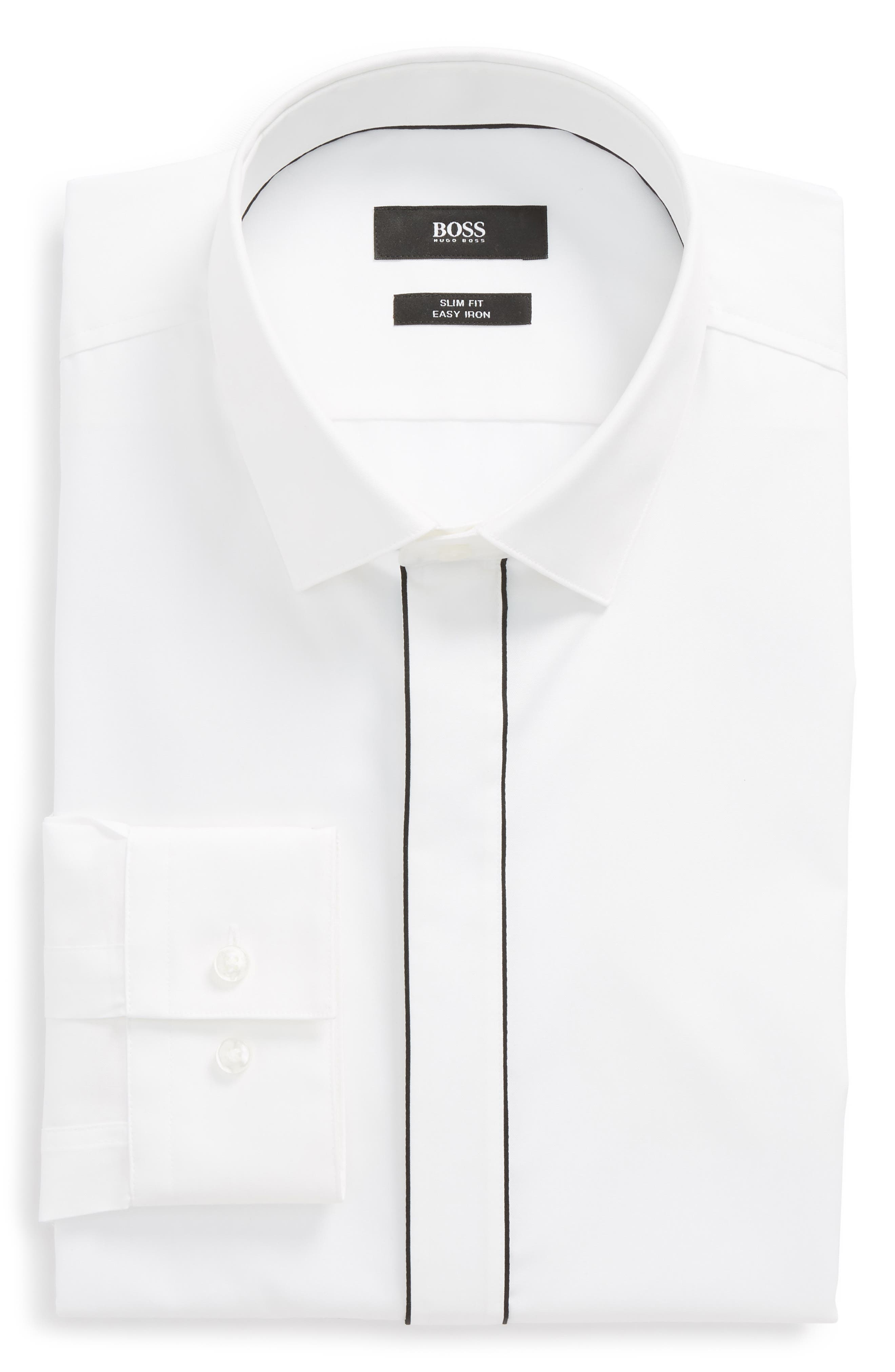Jamir Slim Fit Easy Iron Solid Dress Shirt,                         Main,                         color, White