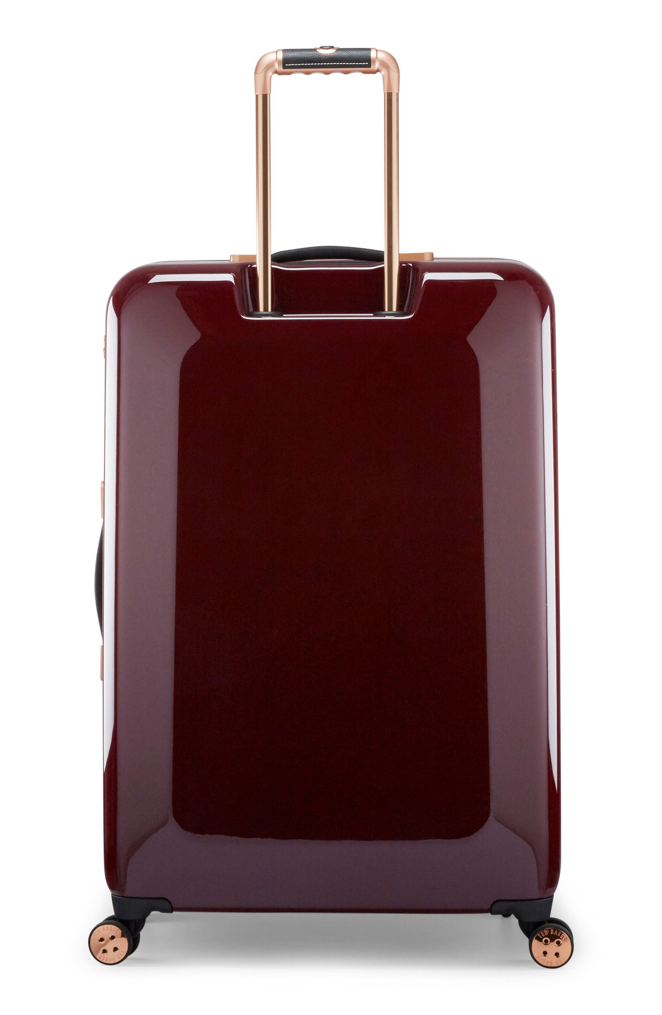 Large Porcelain Rose 31-Inch Hard Shell Spinner Suitcase,                             Alternate thumbnail 4, color,                             Burgundy