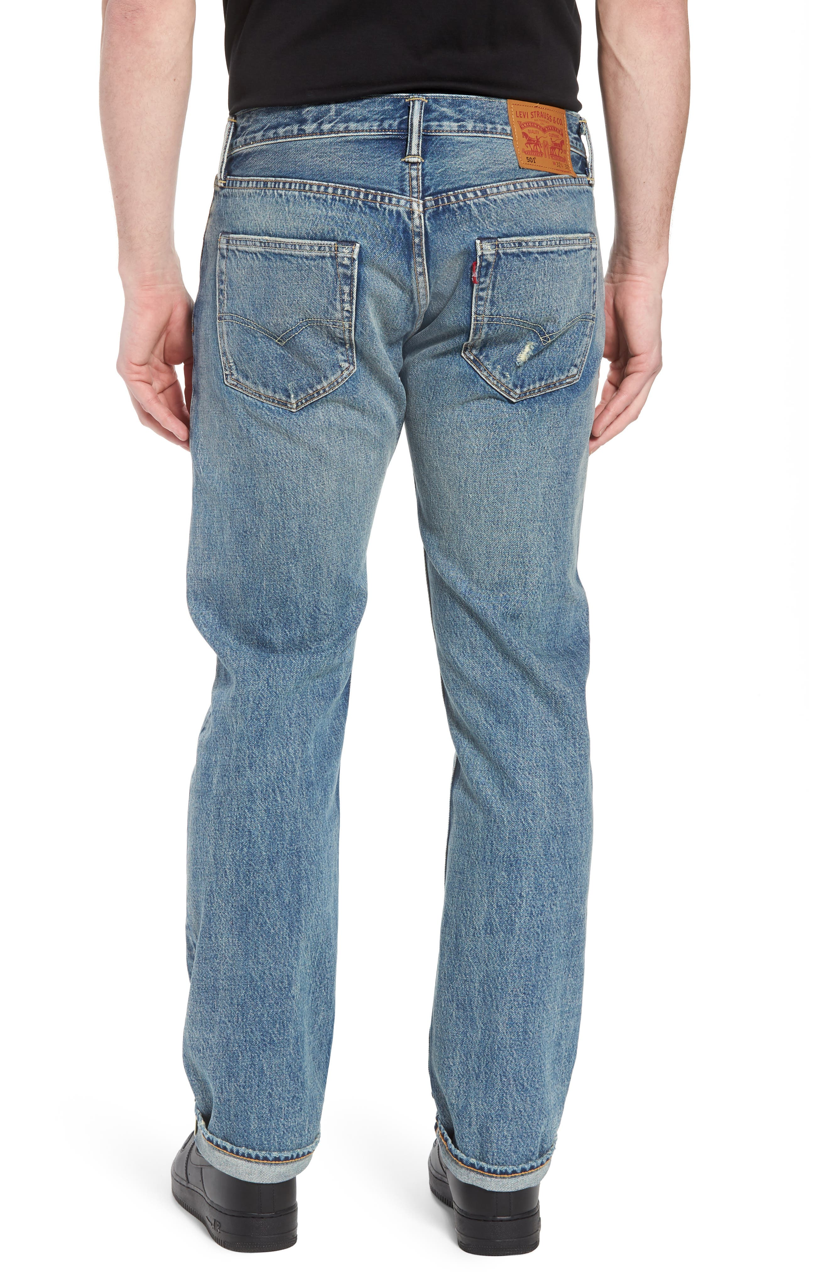 501<sup>®</sup> Original Straight Leg Jeans,                             Alternate thumbnail 2, color,                             Redwood Ave Selvedge