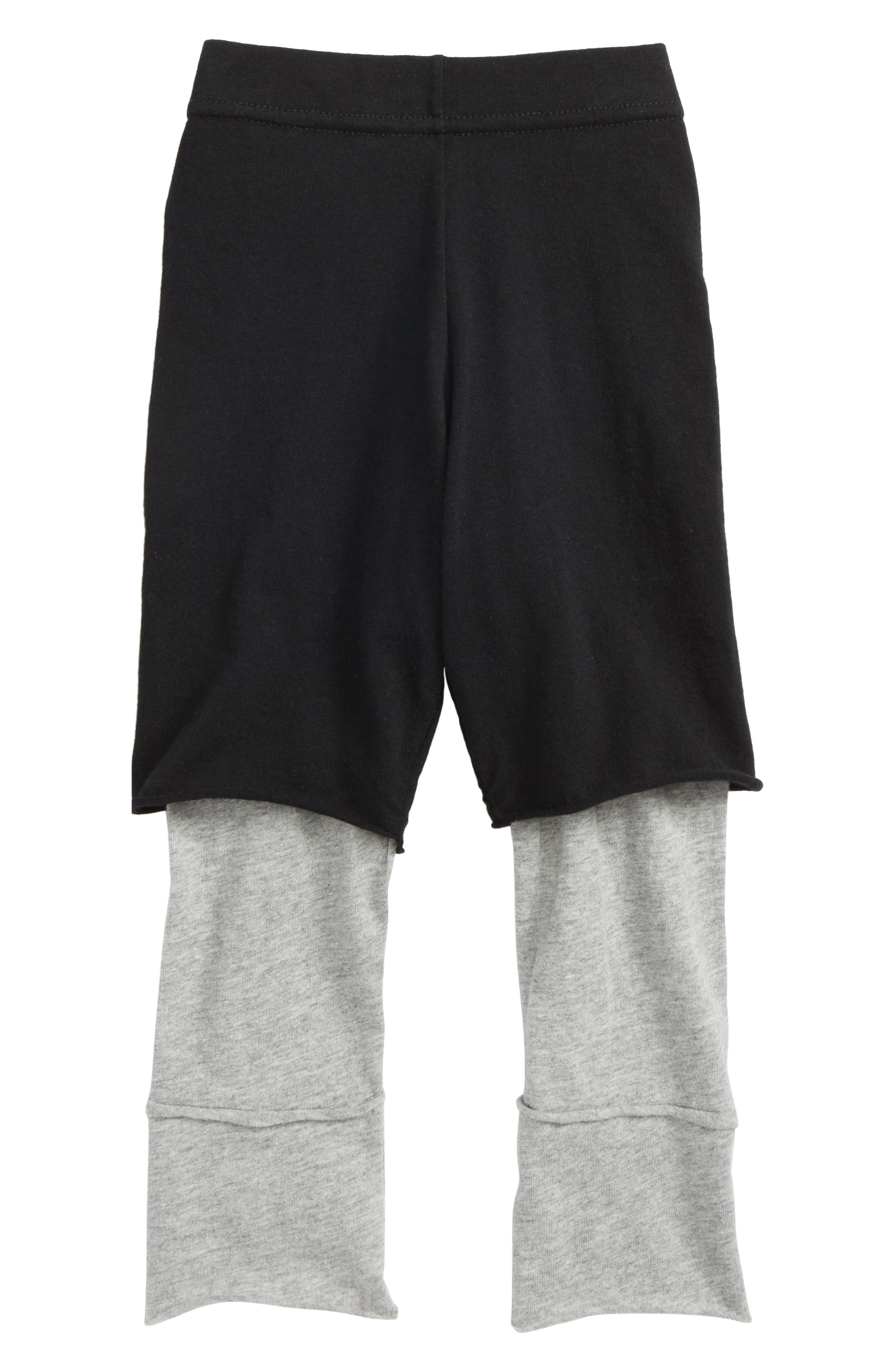 One on One Layered Pants,                         Main,                         color, Black/ Heather Grey