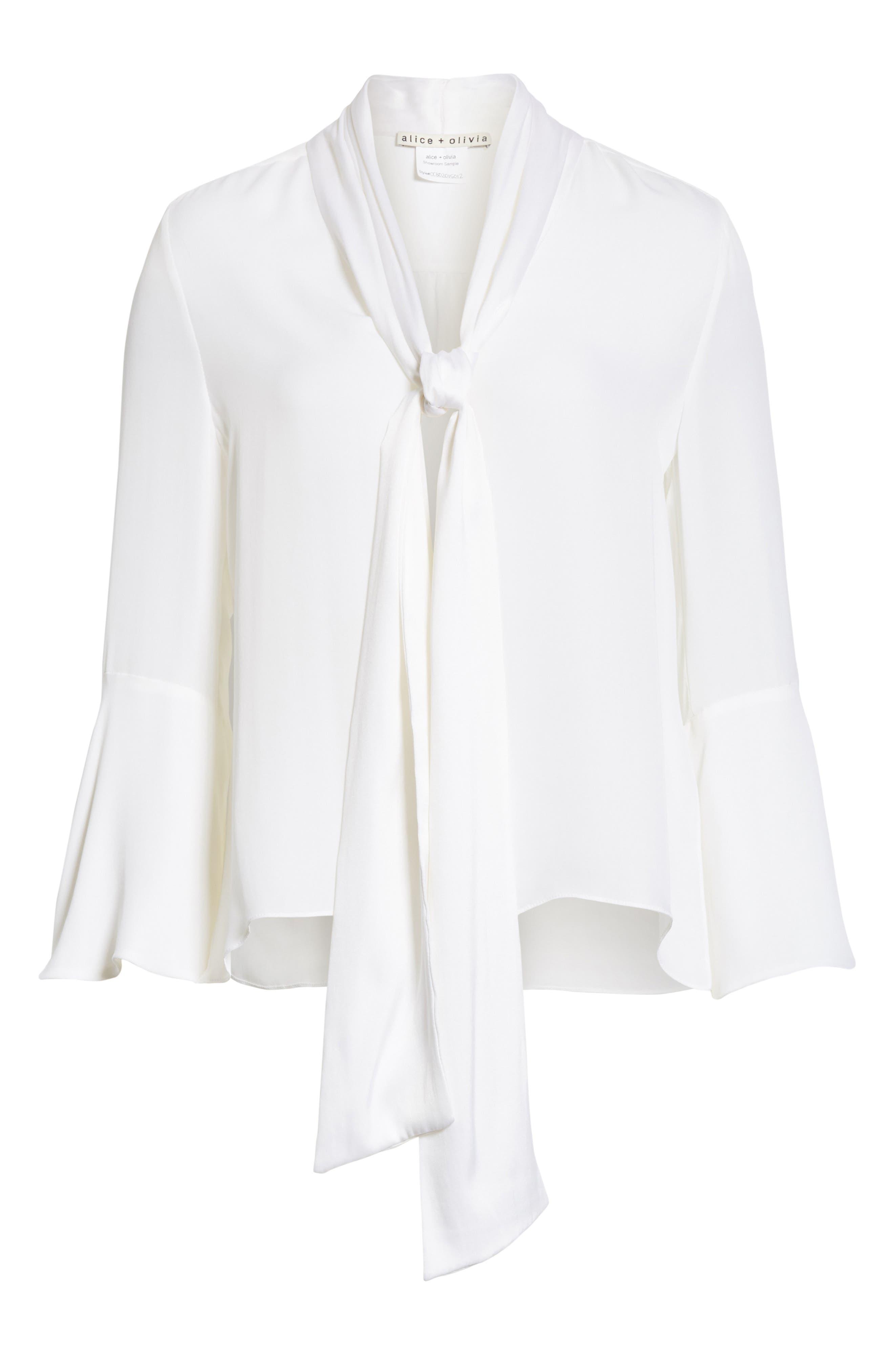 Meredith Tie Neck Silk Blouse,                             Alternate thumbnail 6, color,                             White
