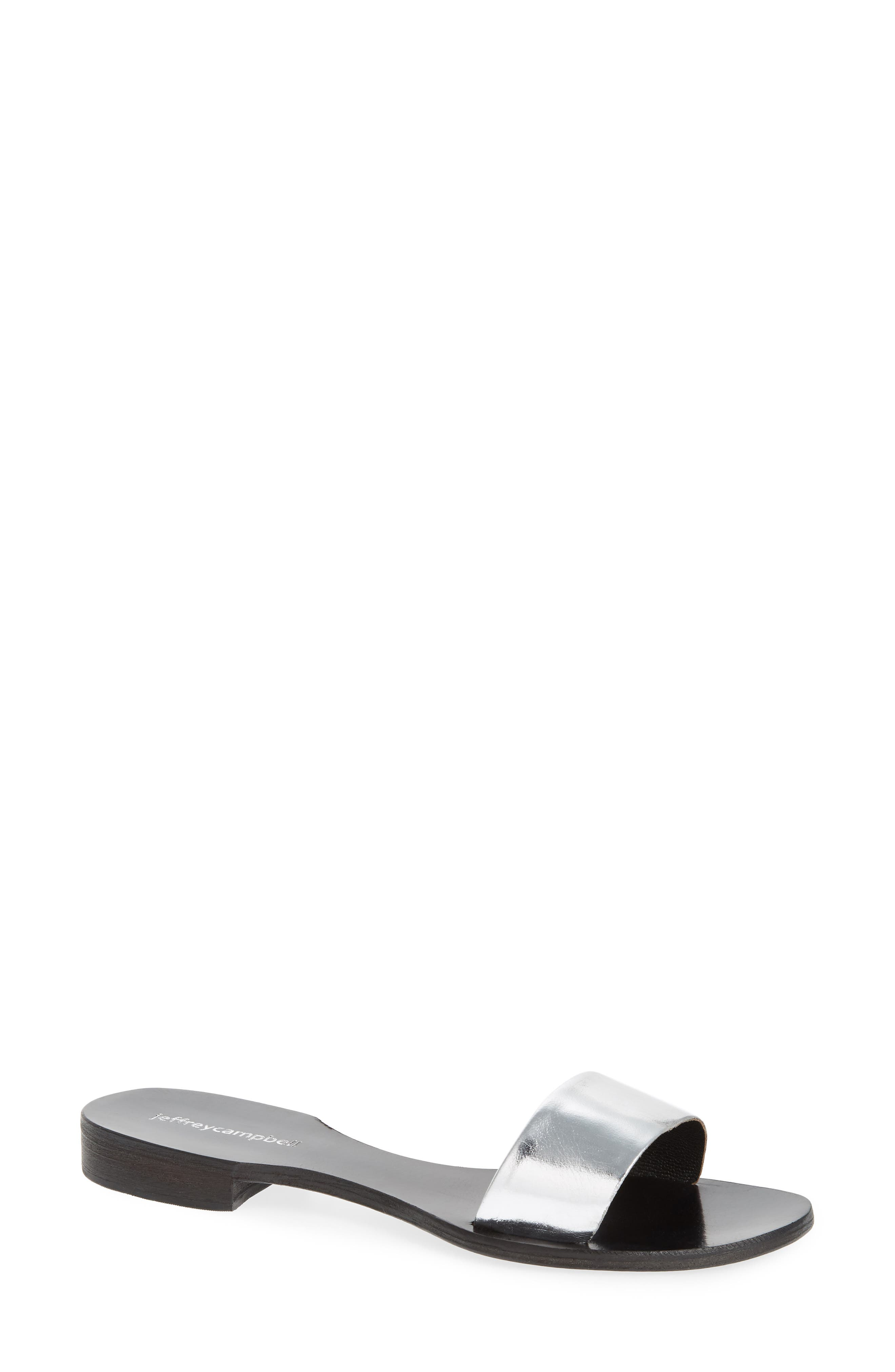 Monzon Slide Sandal,                         Main,                         color, Silver Mirror