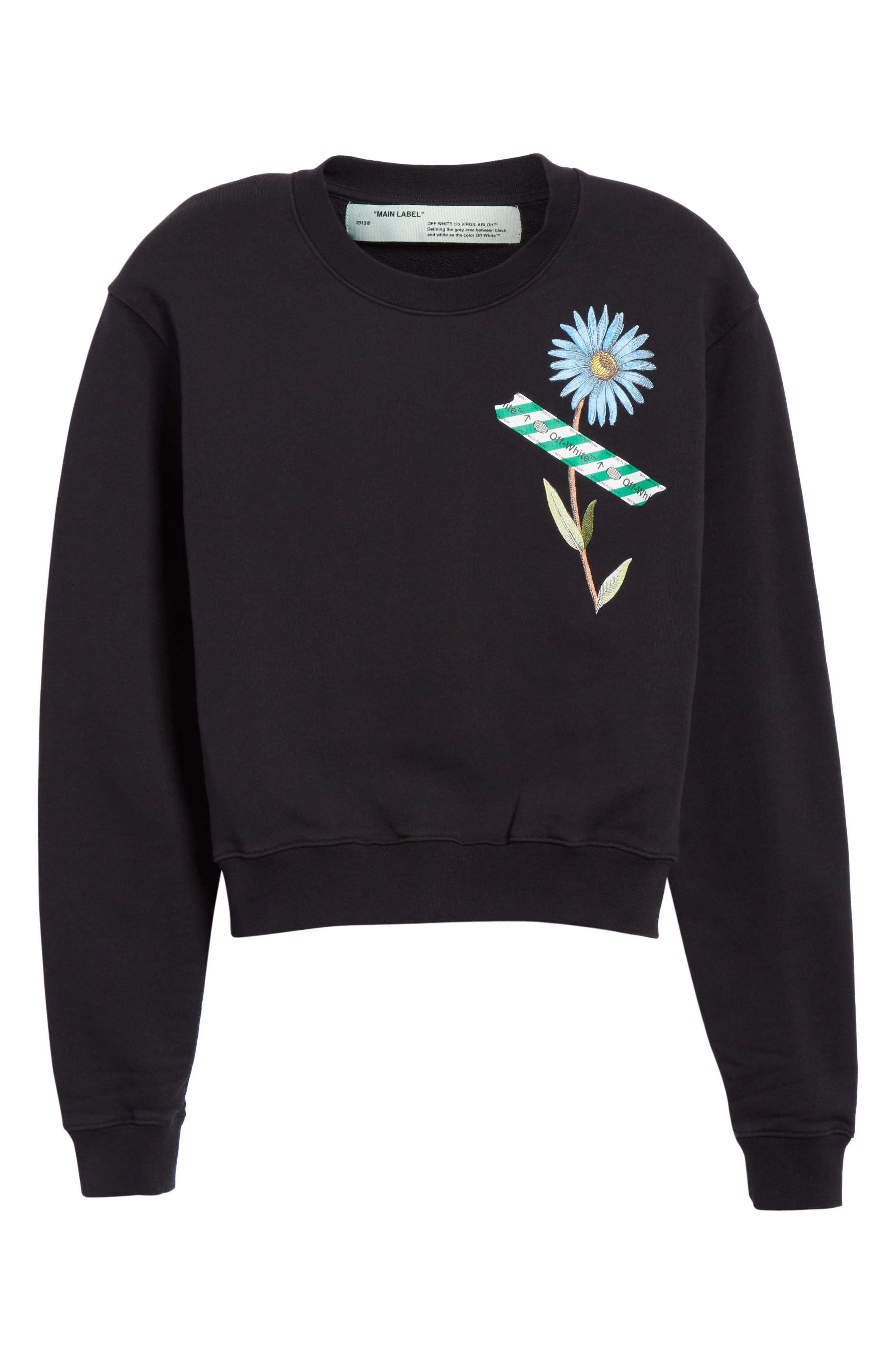 Flower Tape Crop Sweatshirt,                             Alternate thumbnail 6, color,                             Black Multicolor