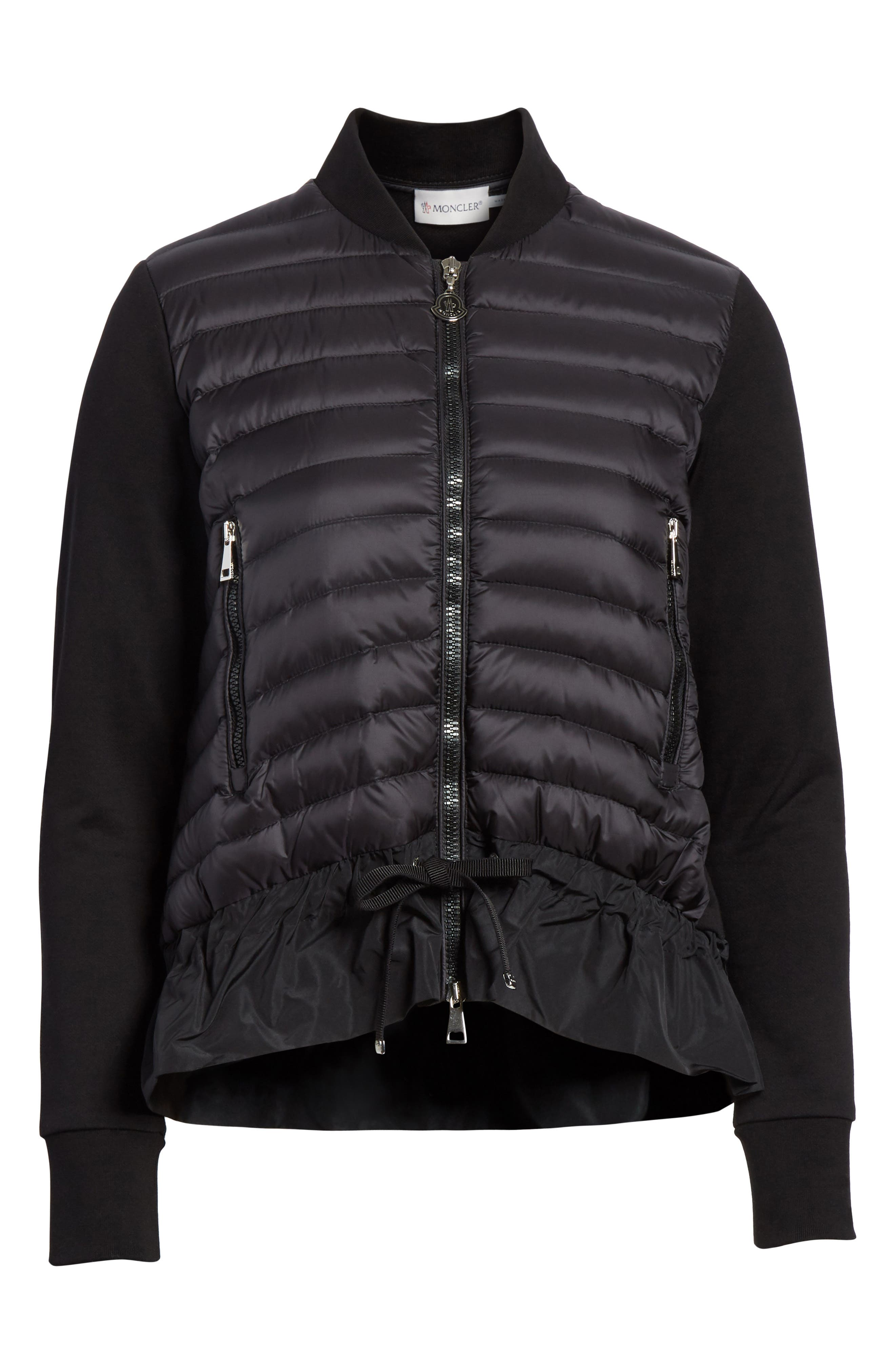 Quilted Down & Cotton Bomber,                             Main thumbnail 1, color,                             Black