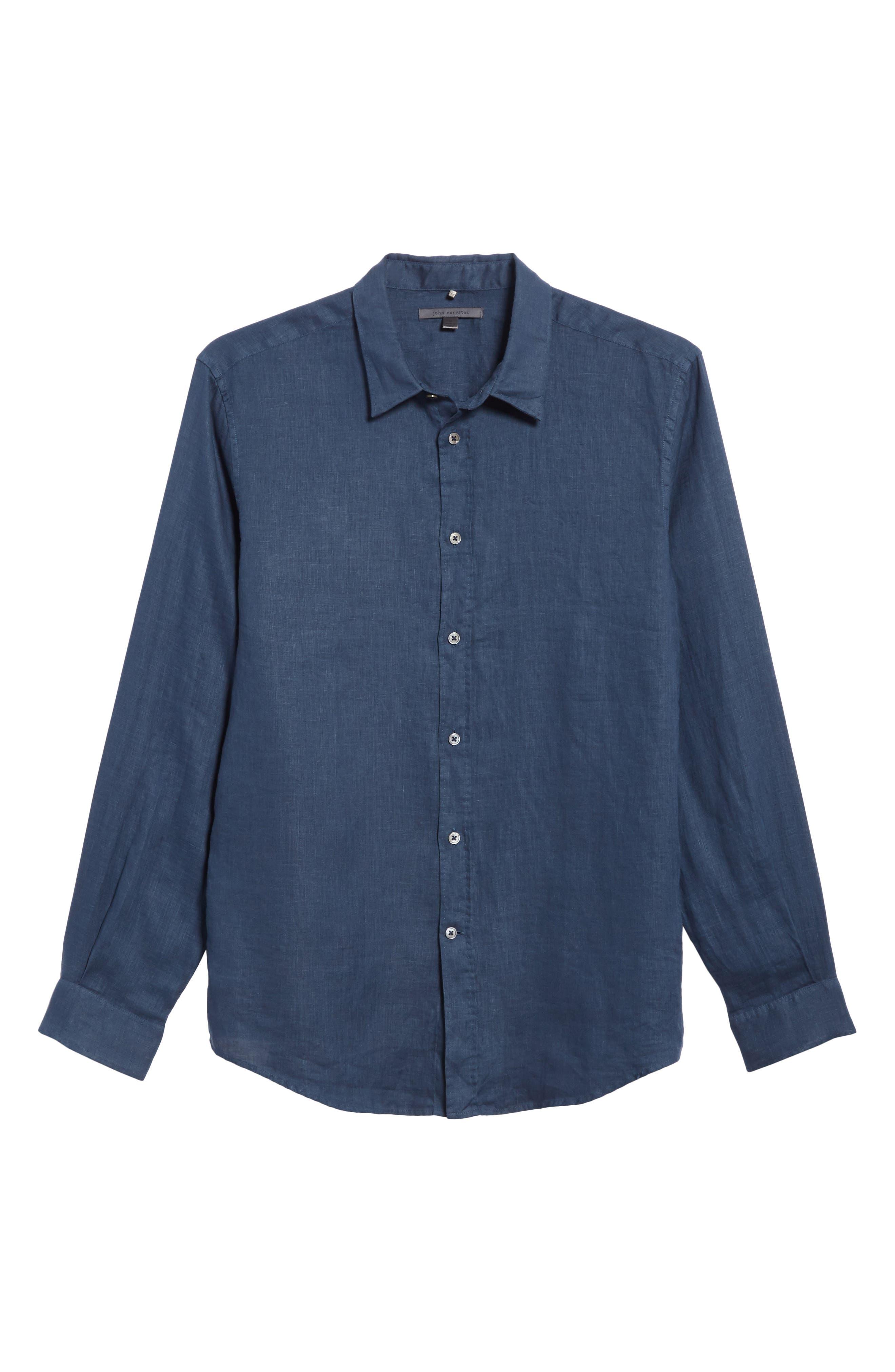 Collection Garment Dyed Linen Shirt,                             Alternate thumbnail 6, color,                             Lake Blue