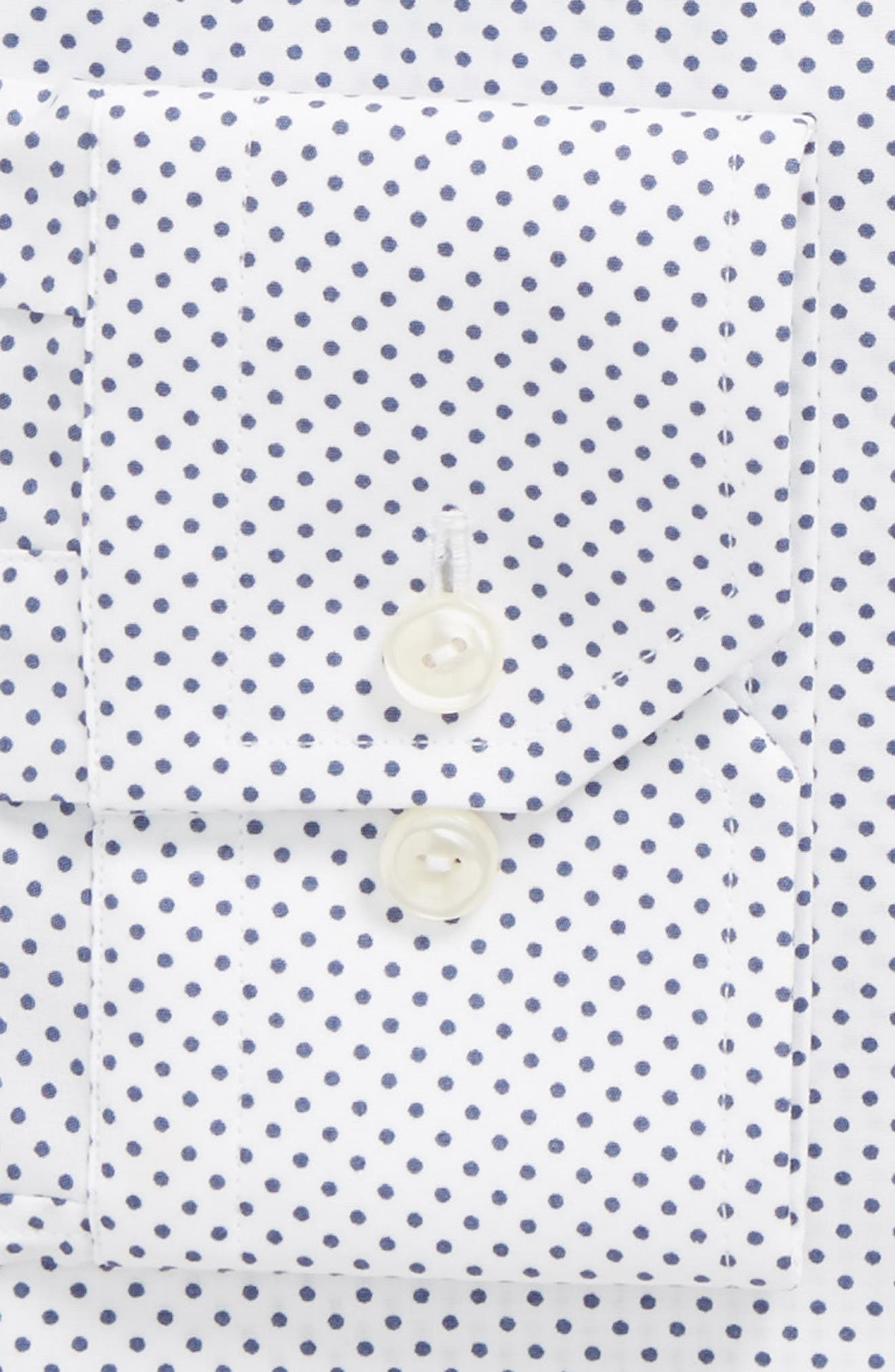 Slim Fit Dot Dress Shirt,                             Alternate thumbnail 5, color,                             White/ Navy