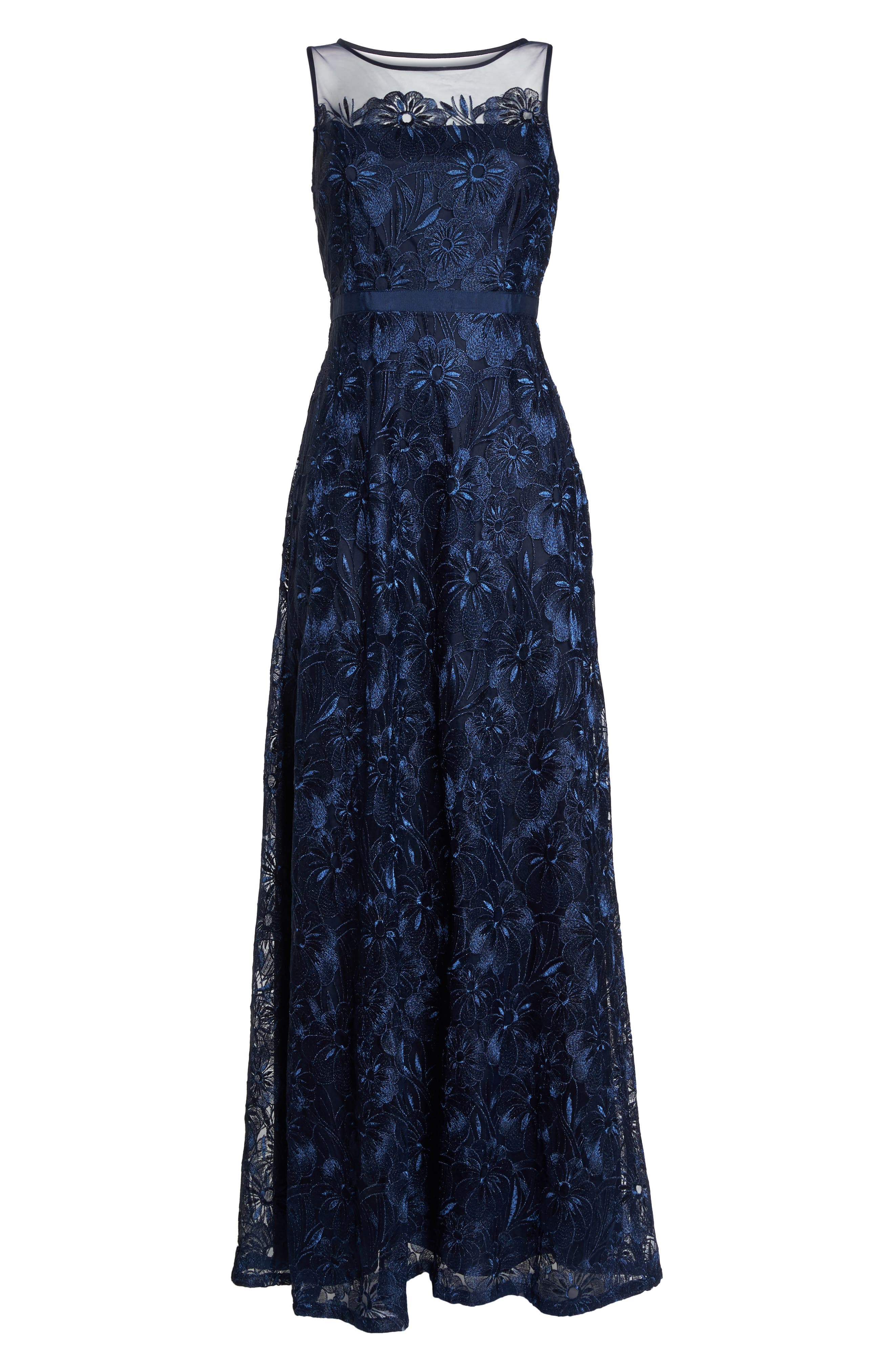 Flower Embroidered Gown,                             Alternate thumbnail 6, color,                             Midnight