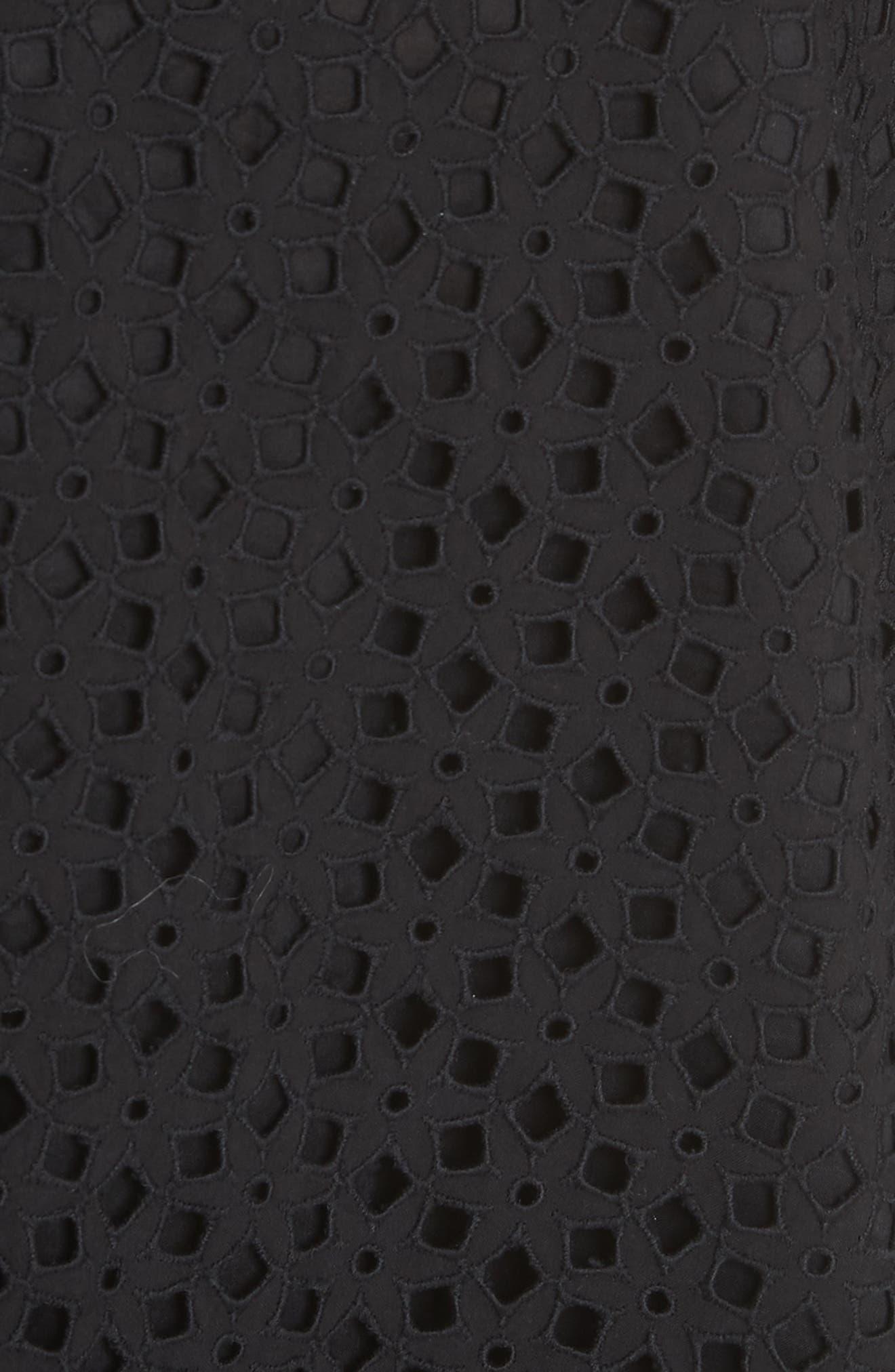 Cathy Cotton Eyelet Dress,                             Alternate thumbnail 5, color,                             Black