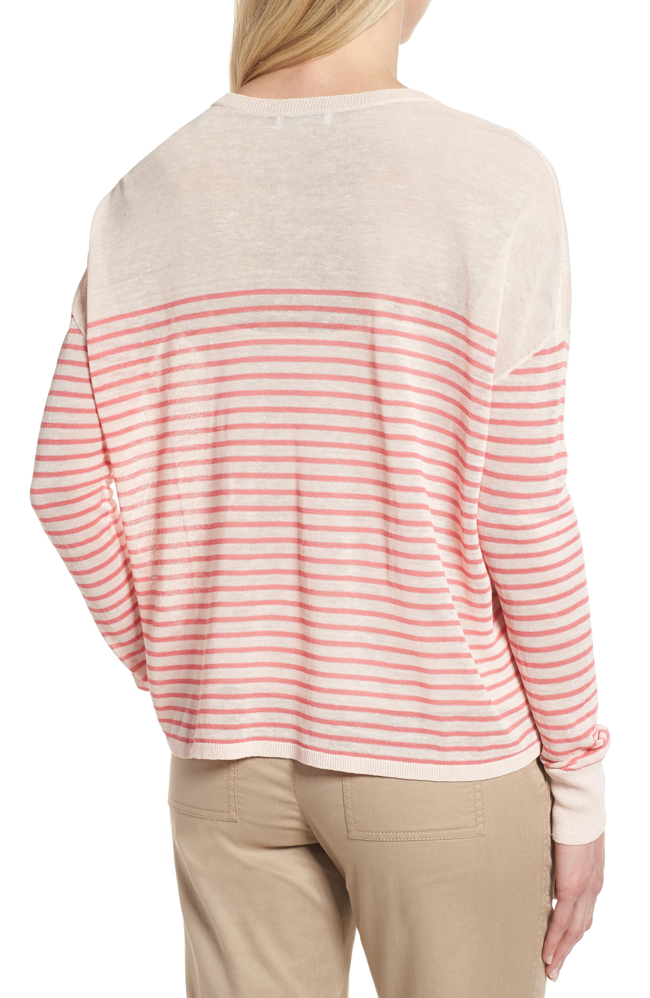 Stripe Linen Blend Sweater,                             Alternate thumbnail 2, color,                             Pink Peony- Coral Rose Stripe