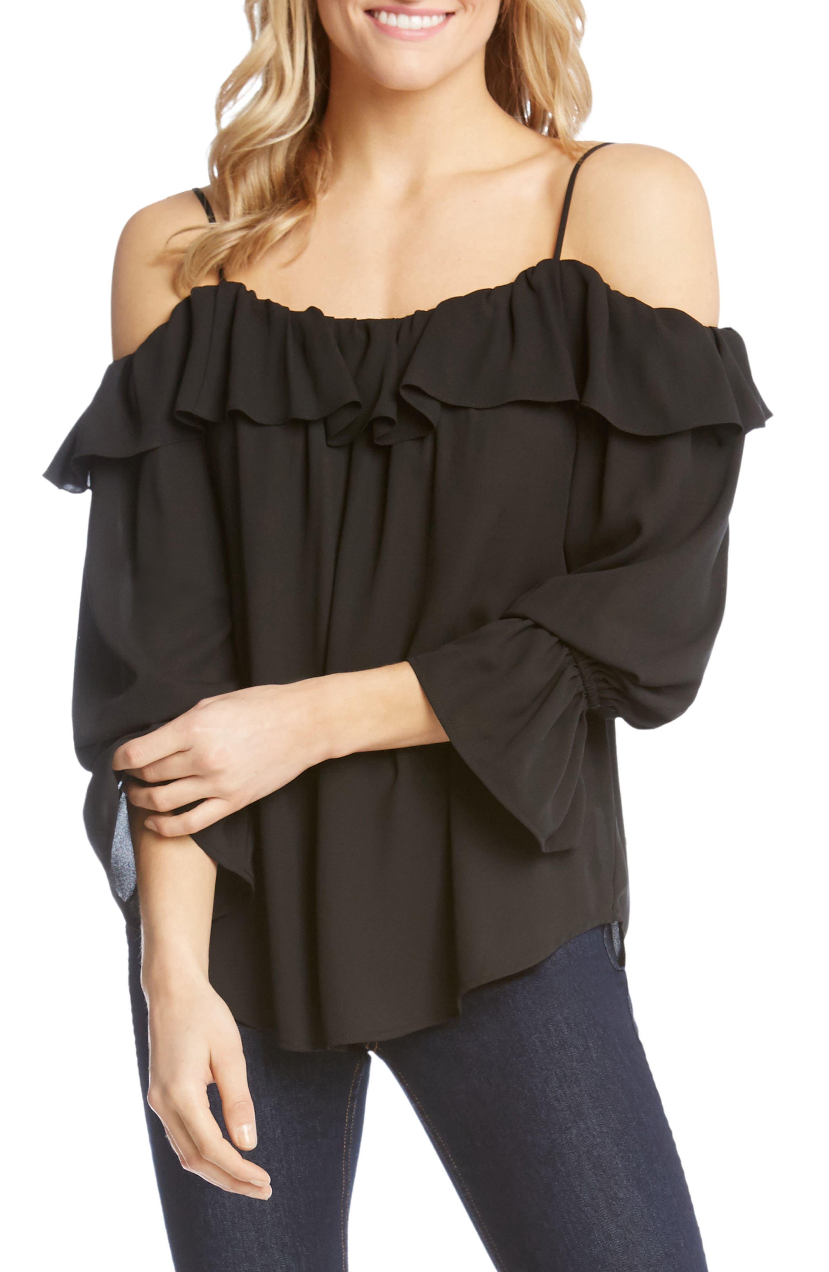 Bracelet Sleeve Cold Shoulder Ruffle Top,                             Main thumbnail 1, color,                             Black
