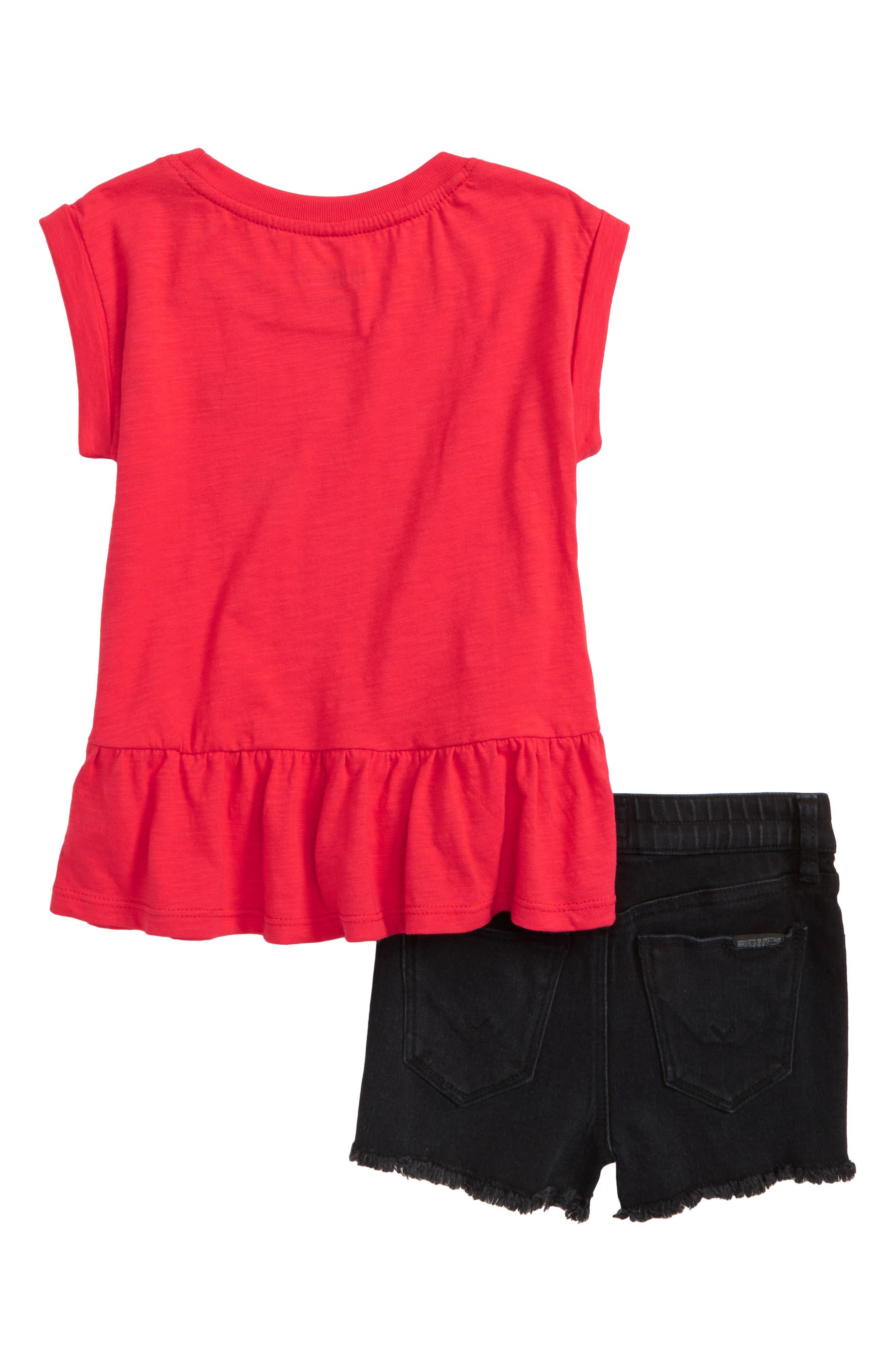 Peplum Tee & Shorts Set,                             Alternate thumbnail 2, color,                             Black Vintage