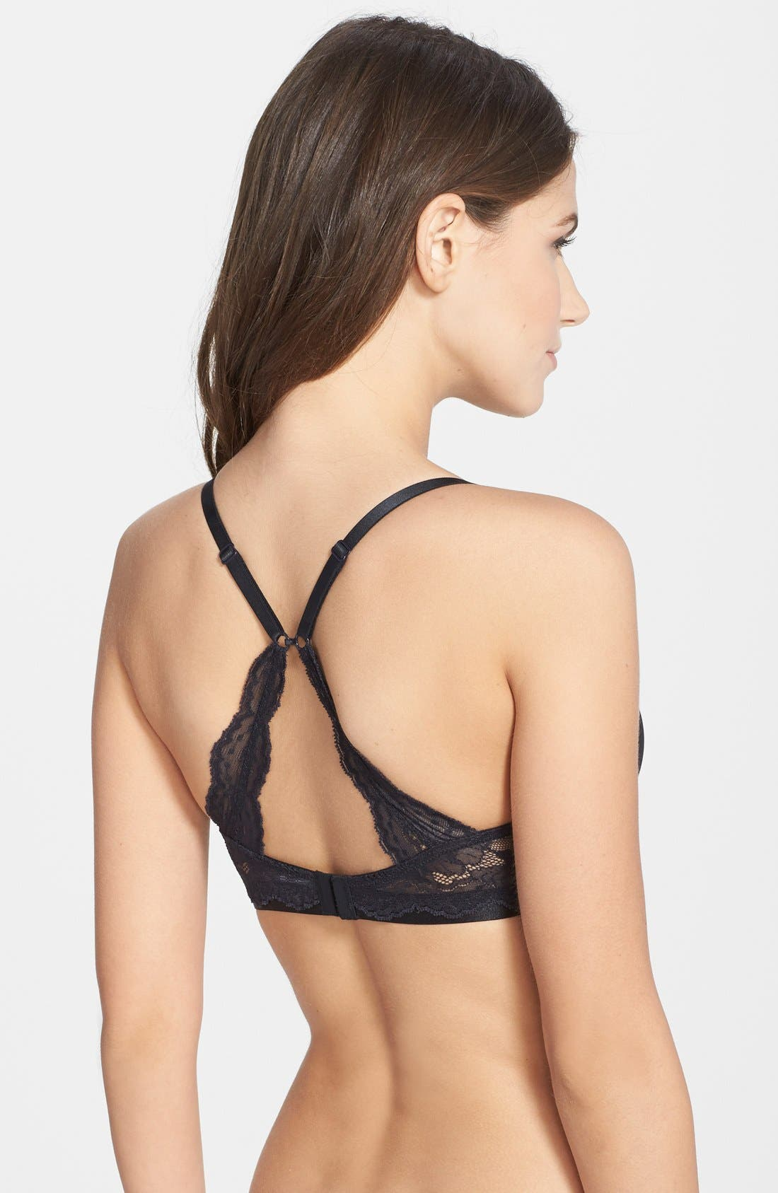 On Gossamer 'Beautifully Basic' Lace Trim Underwire Plunge Bra