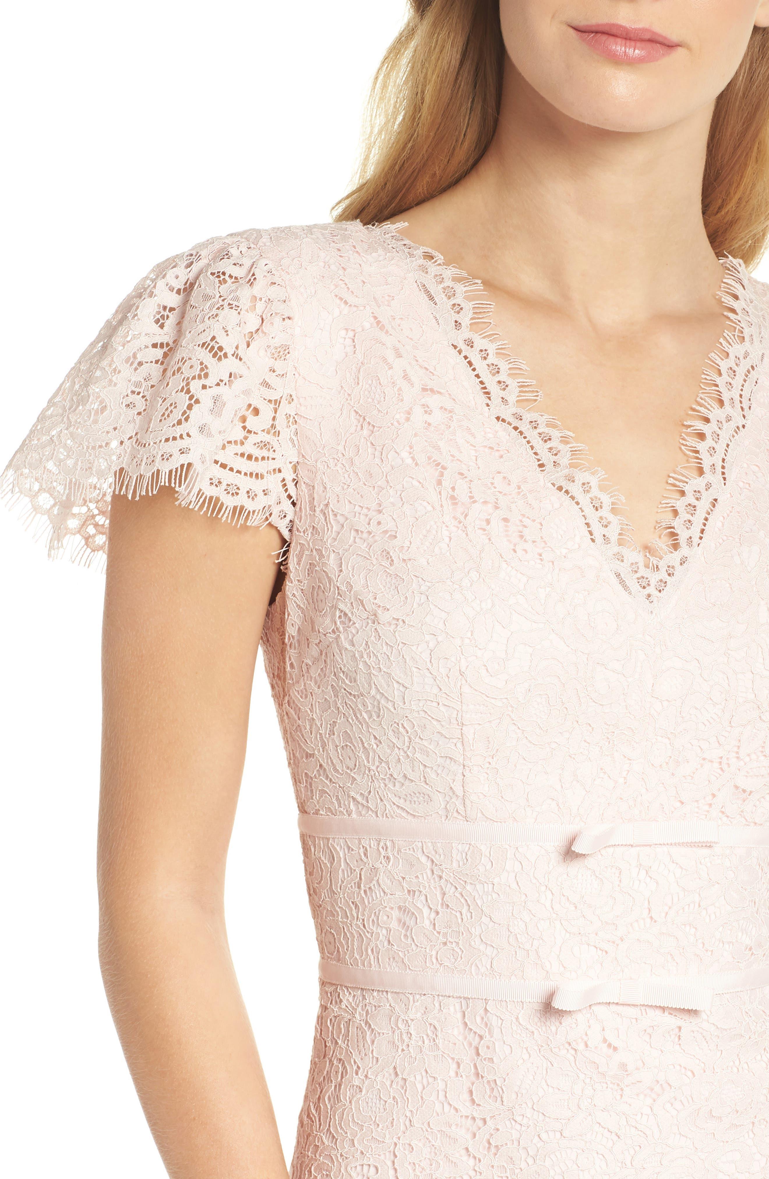 Ginger Rosebud Lace Sheath Dress,                             Alternate thumbnail 6, color,                             Blush