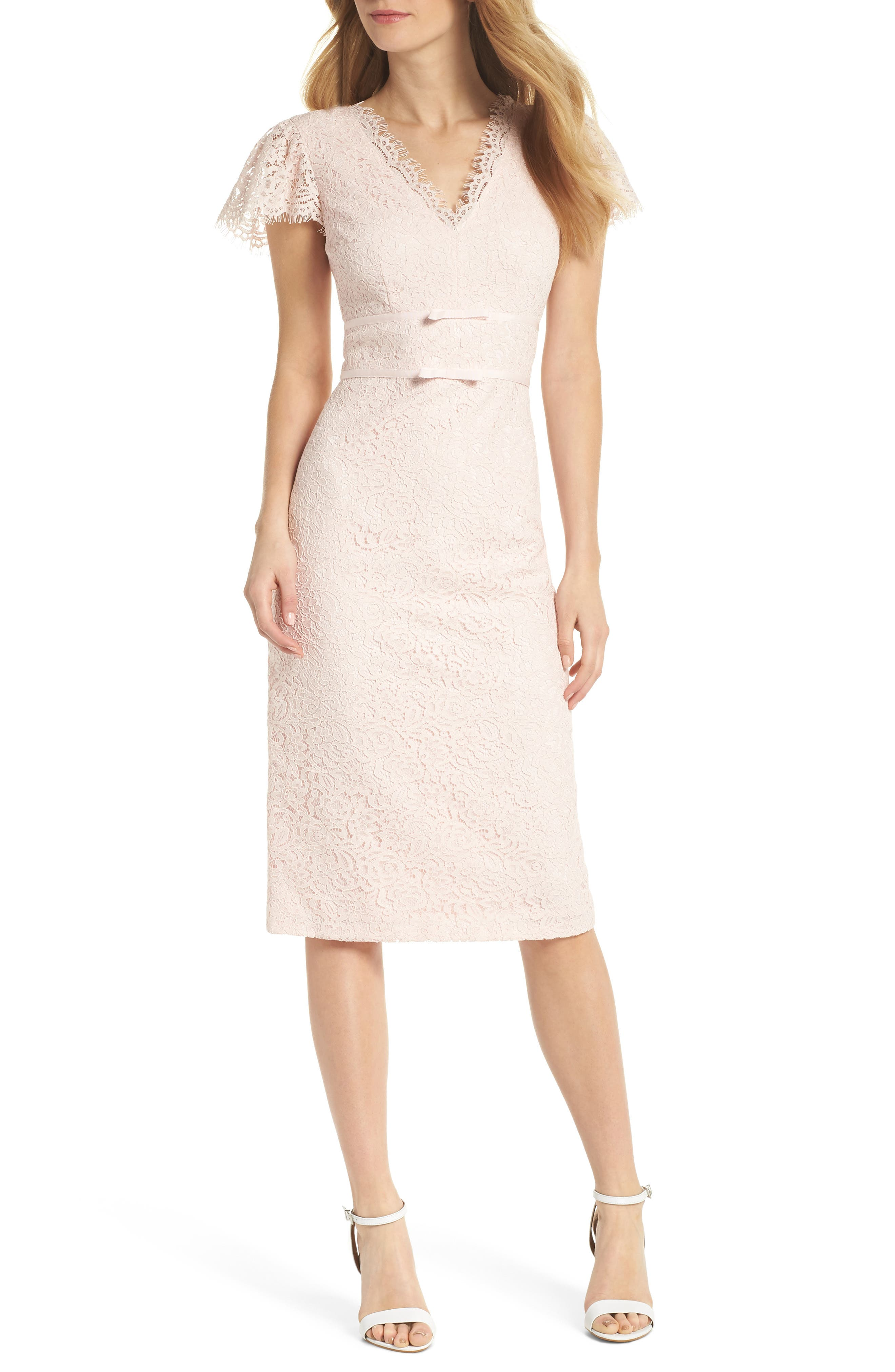 Ginger Rosebud Lace Sheath Dress,                         Main,                         color, Blush