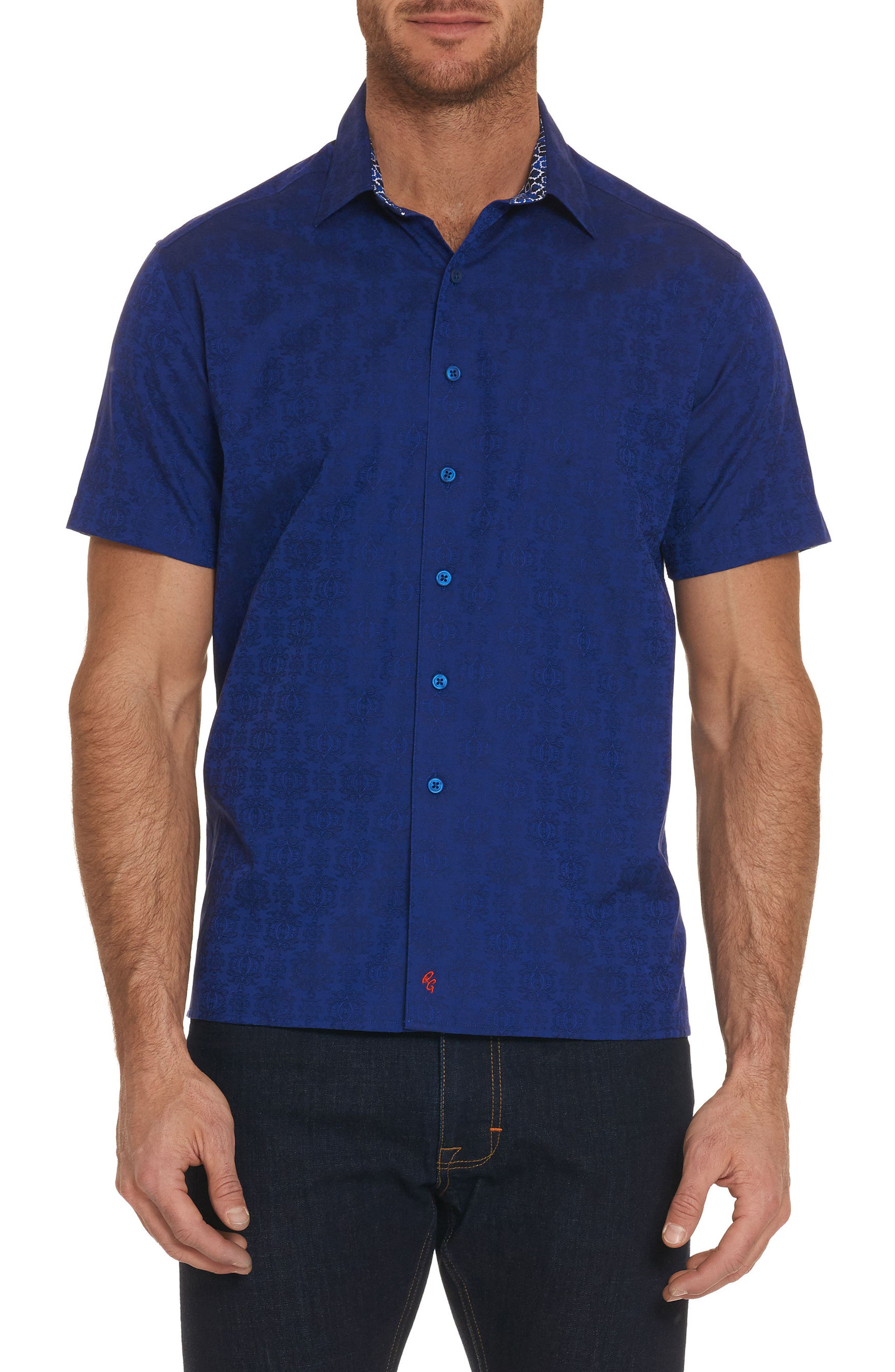 Cullen Squared Regular Fit Short Sleeve Sport Shirt,                             Main thumbnail 1, color,                             Navy
