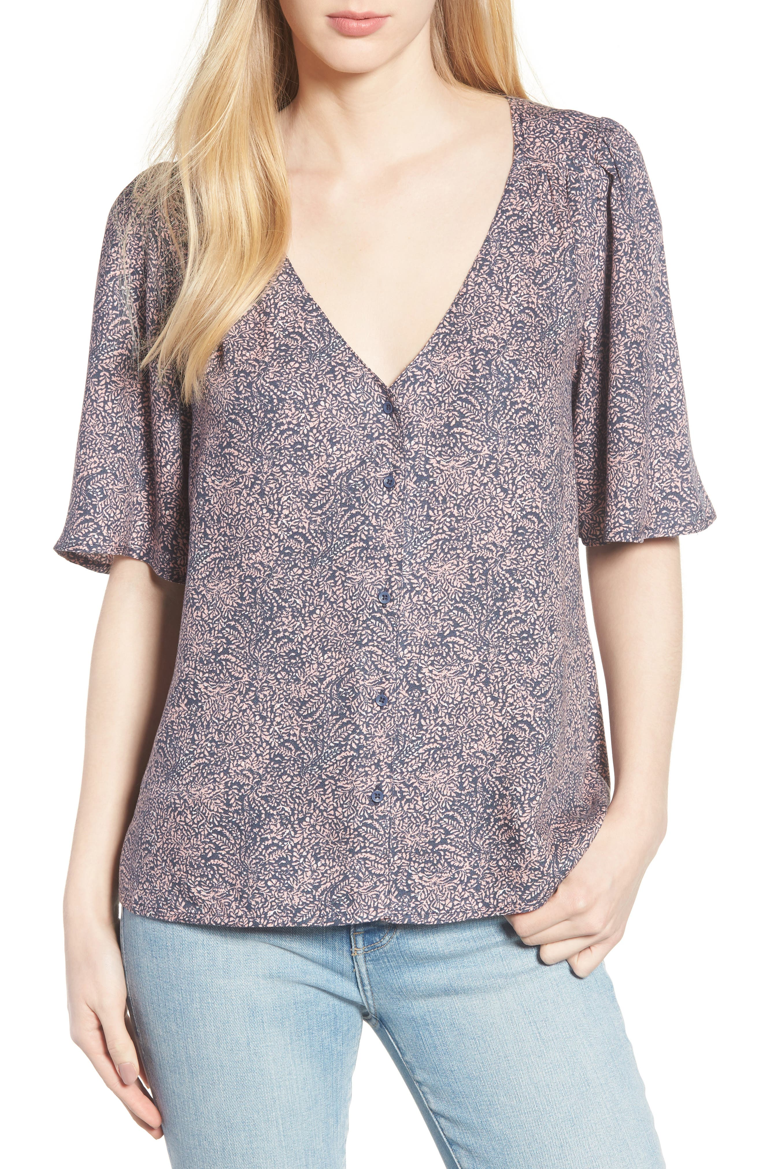 Button Front V-Neck Top,                             Main thumbnail 1, color,                             Navy Blue Branches