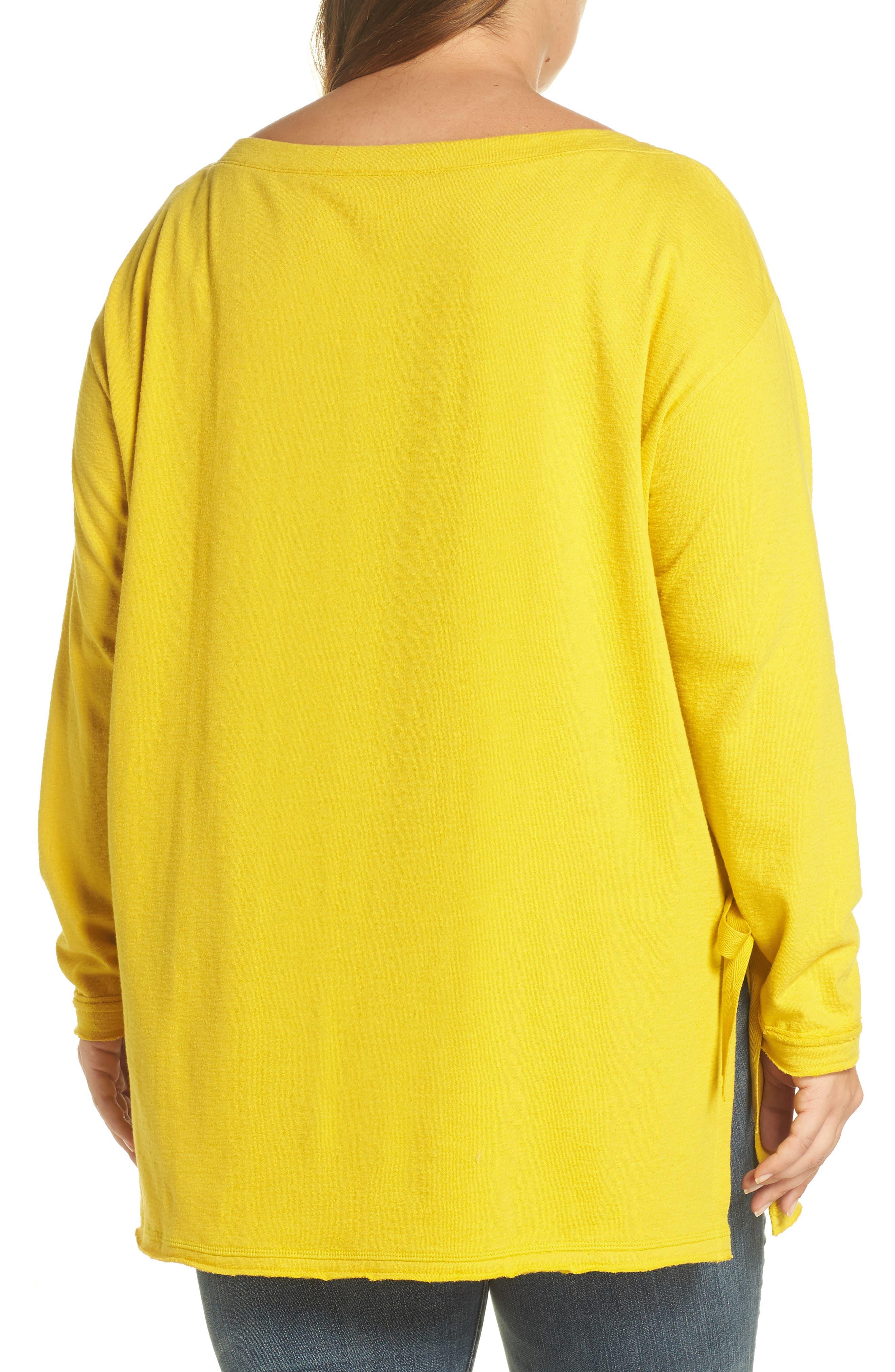 Side Tie Cotton Tunic Top,                             Alternate thumbnail 2, color,                             Yellow Tea