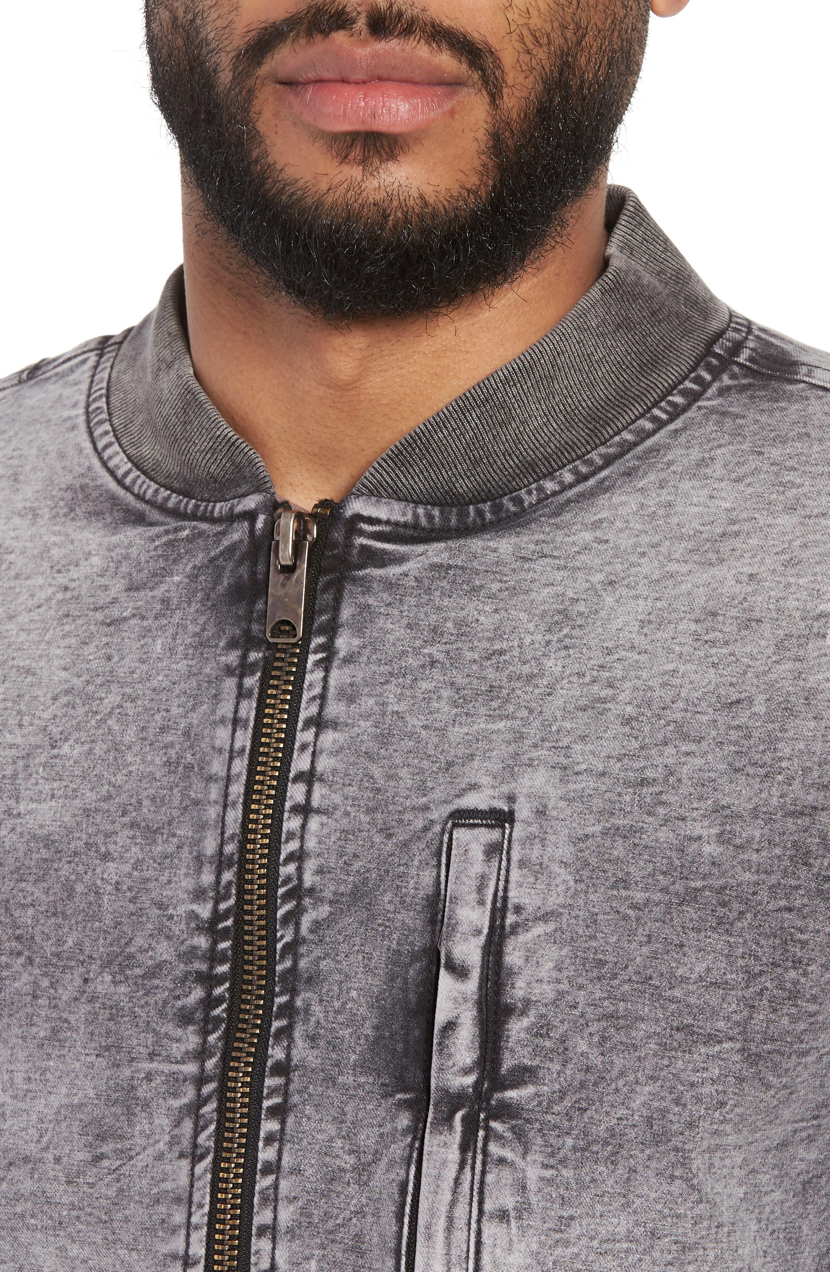 Hudson Regular Fit Bomber Jacket,                             Alternate thumbnail 4, color,                             Mineral Black
