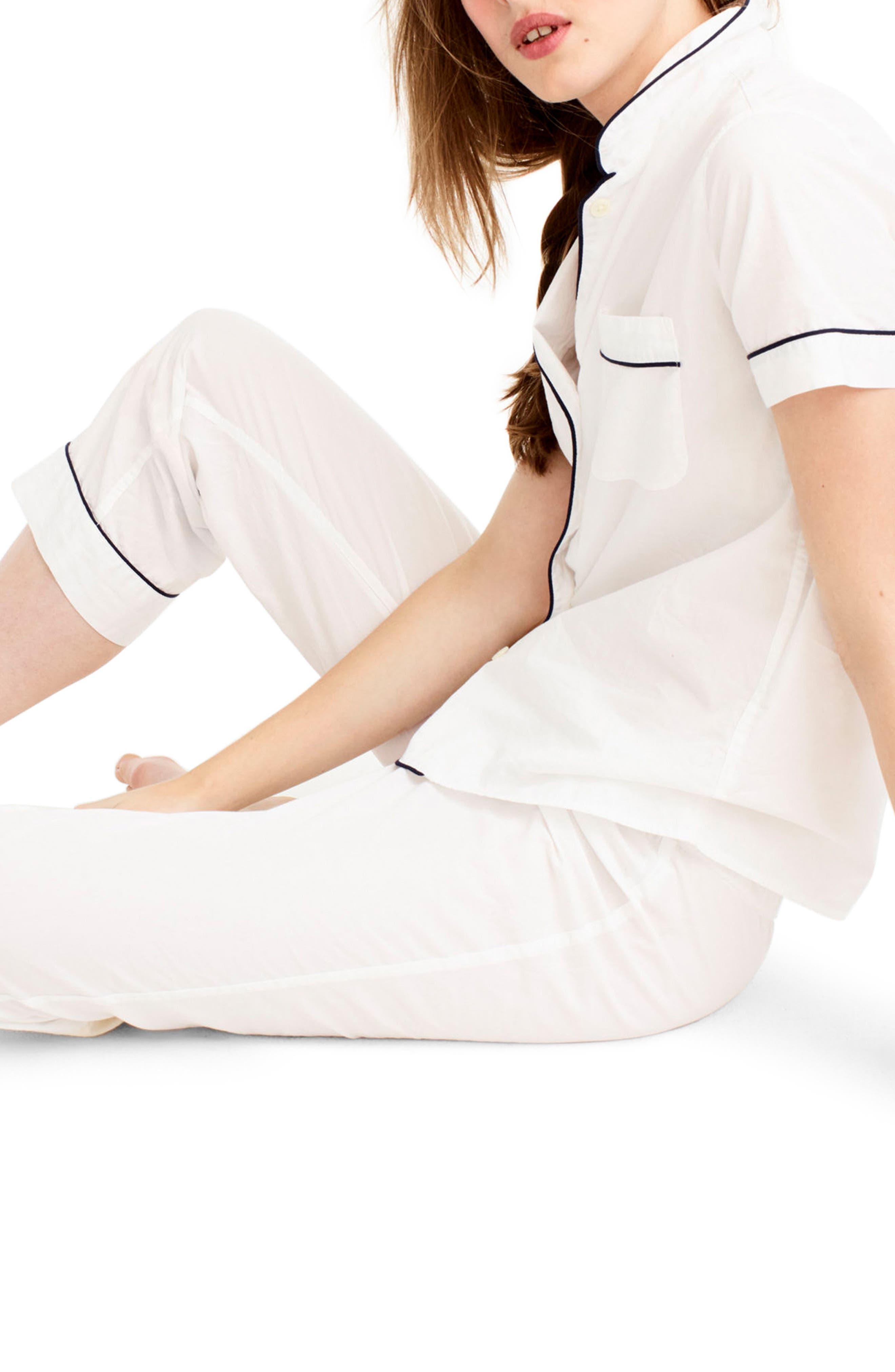 J.Crew Vintage Cotton Pajamas,                             Alternate thumbnail 2, color,                             White