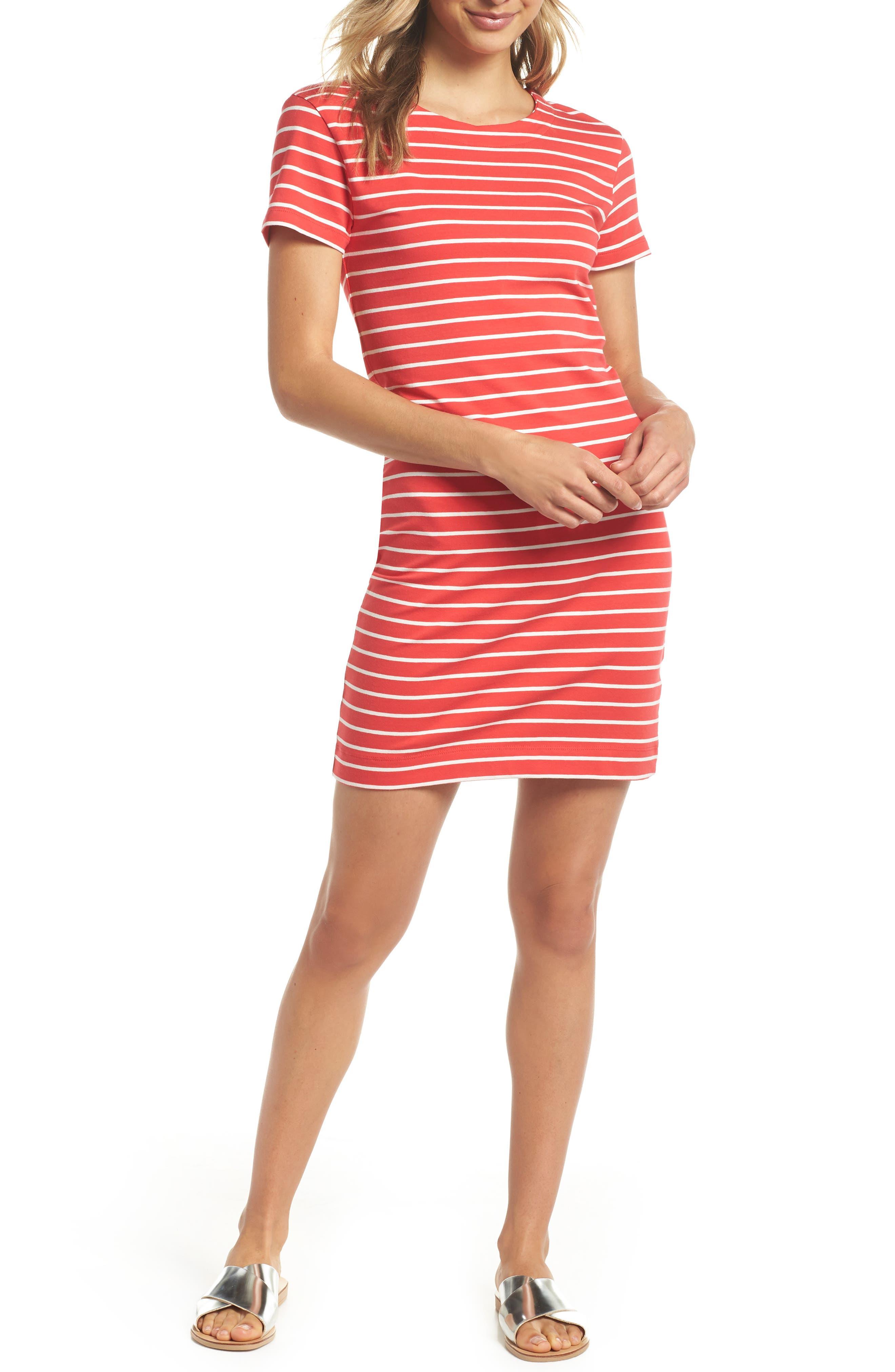 Knit Stripe Body-Con Dress,                             Main thumbnail 1, color,                             Shanghai Red/ Summer White