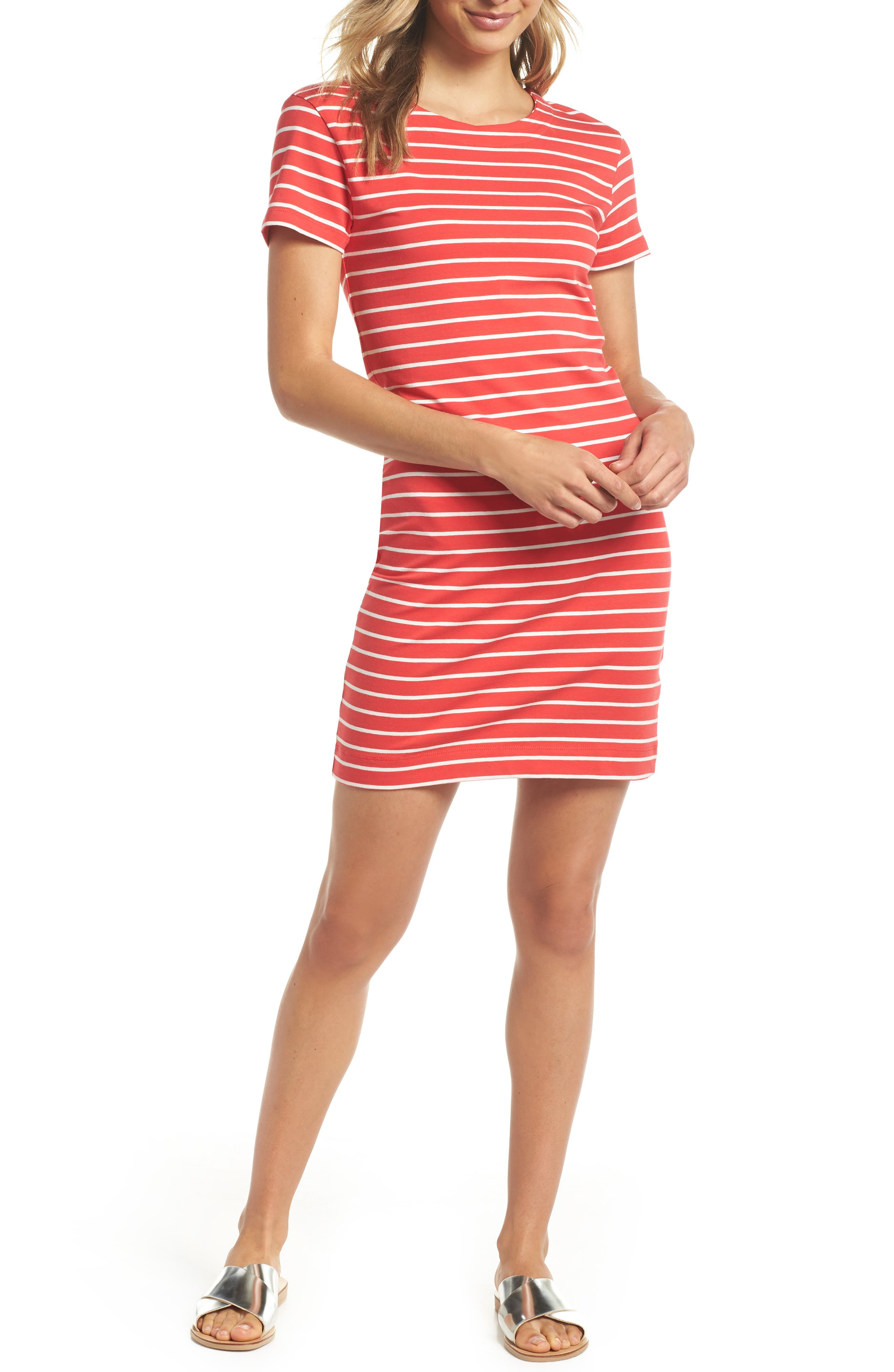 Knit Stripe Body-Con Dress,                         Main,                         color, Shanghai Red/ Summer White