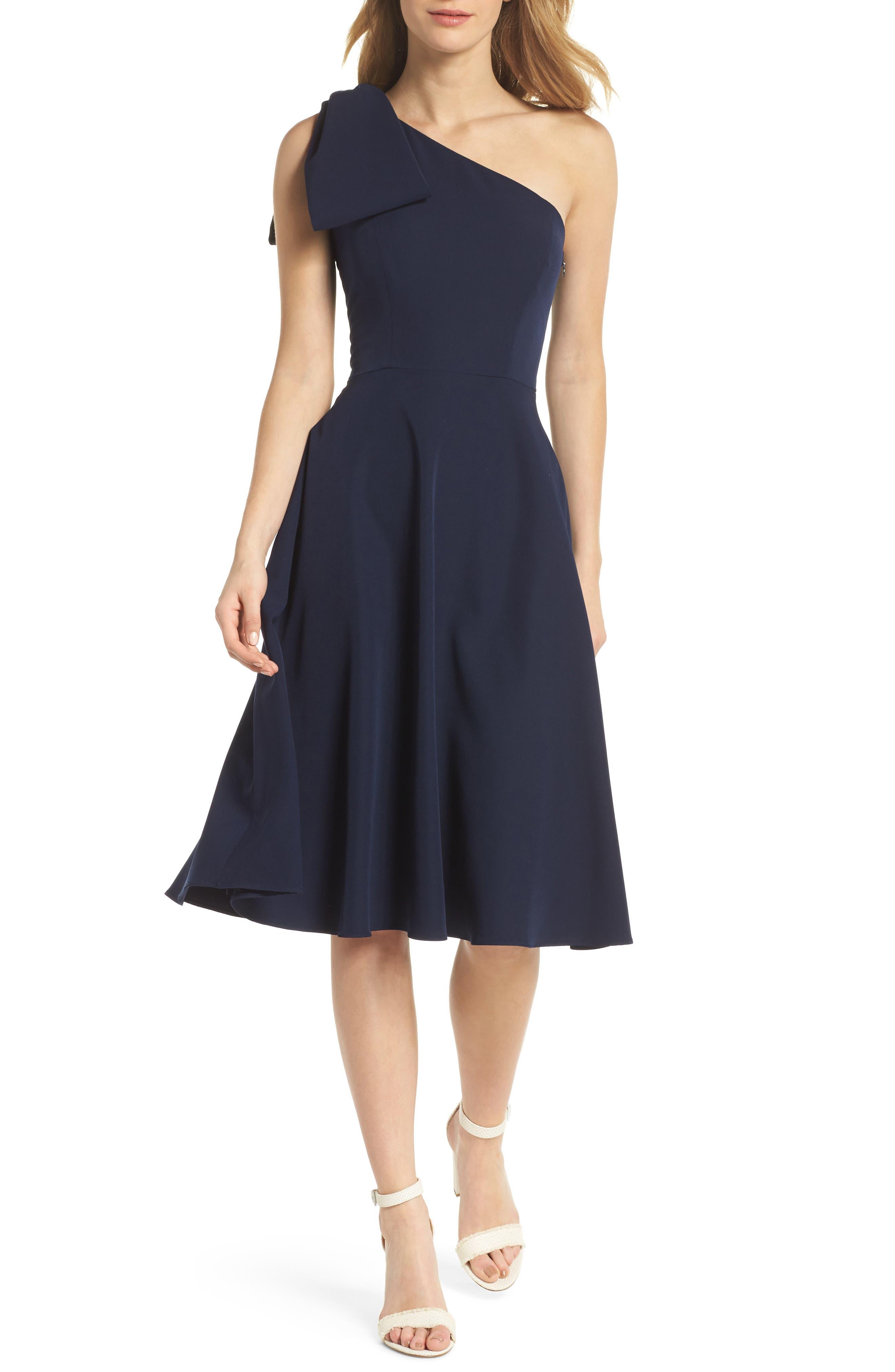 Yvonne Dream Crepe One-Shoulder Dress,                         Main,                         color, Navy