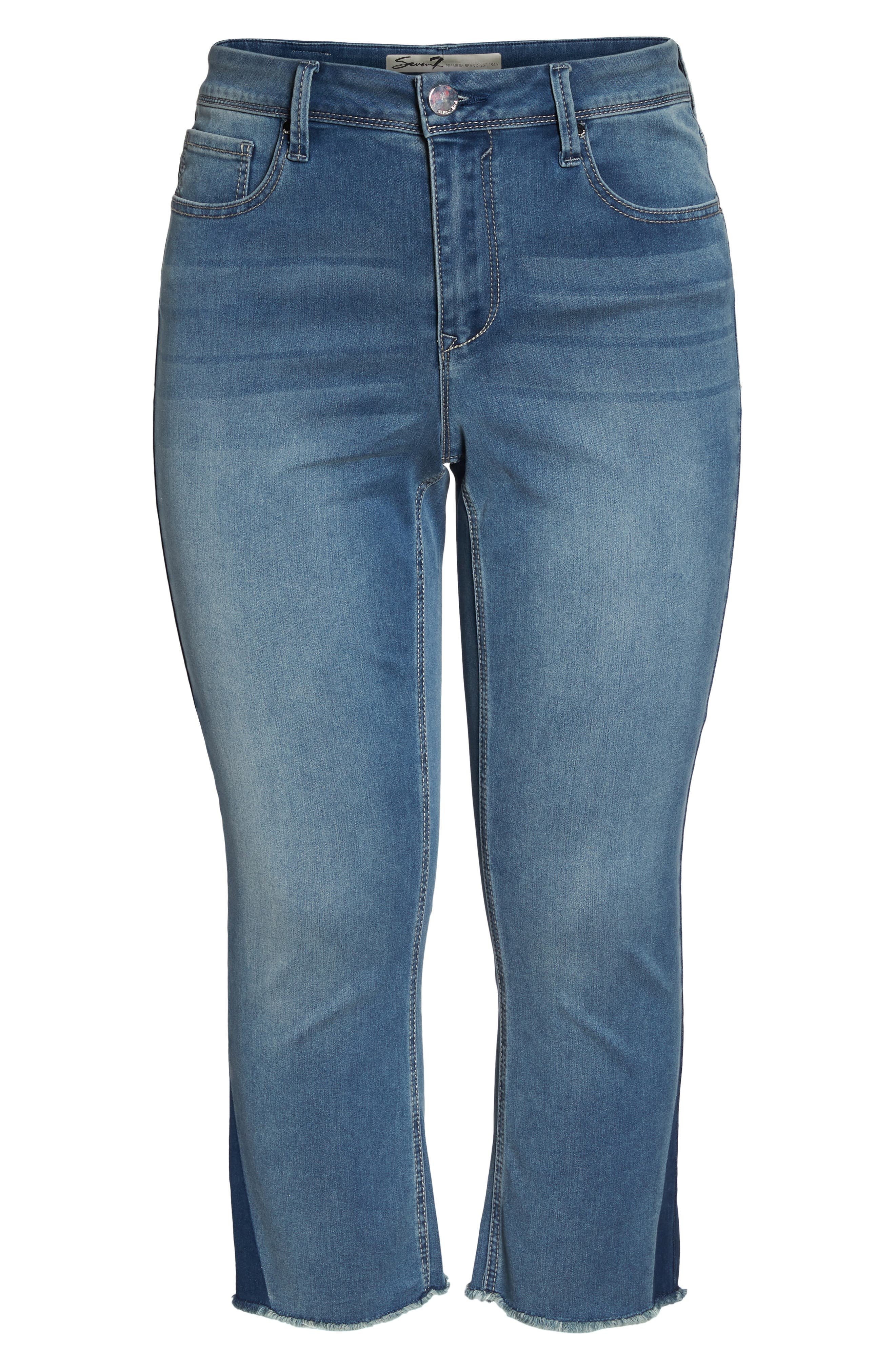 Shadow Godet Ankle Duster Jeans,                             Alternate thumbnail 7, color,                             Levine