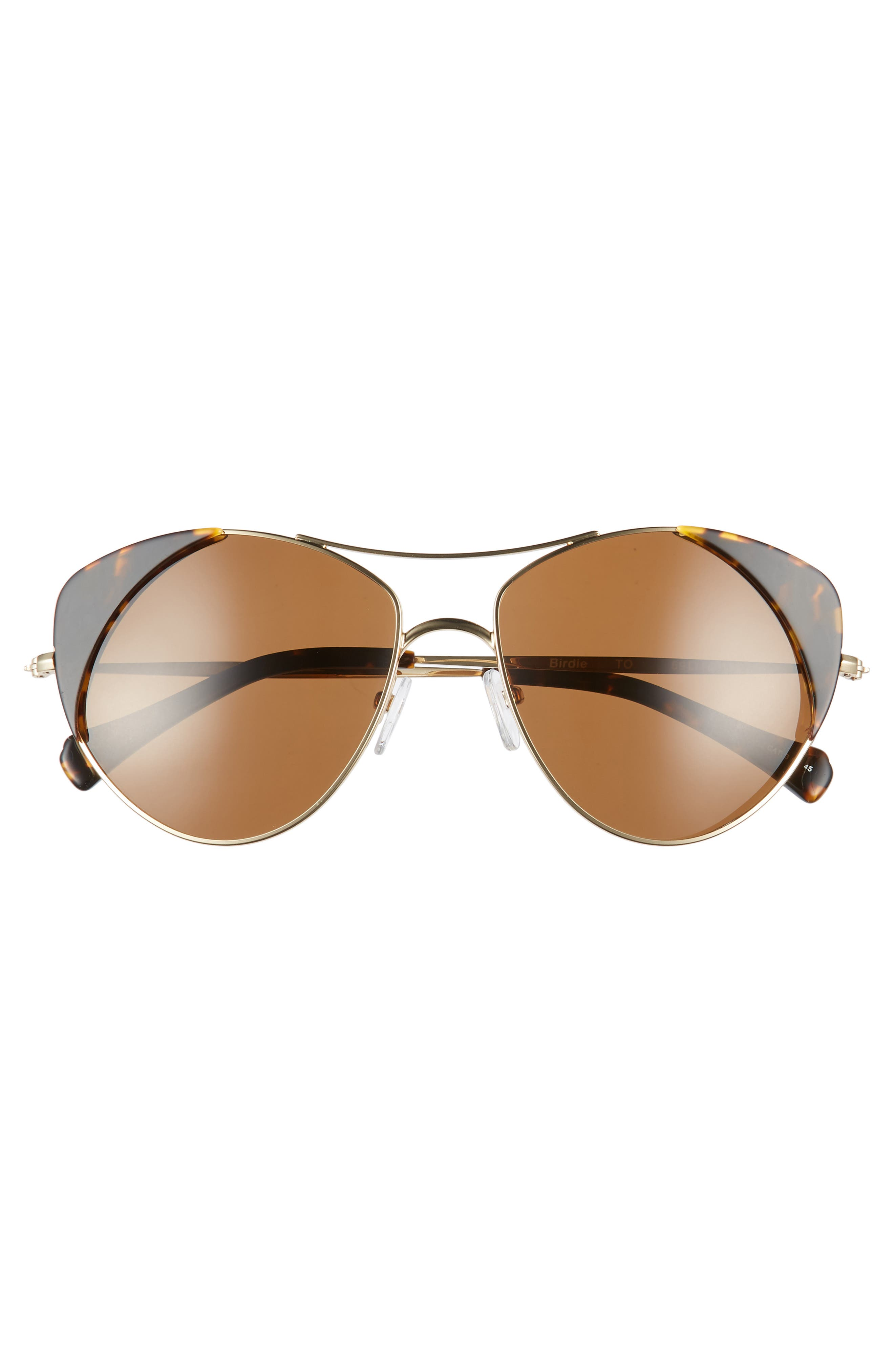 Birdie 59mm Polarized Aviator Sunglasses,                             Alternate thumbnail 3, color,                             Tortoise Polar/ Brown