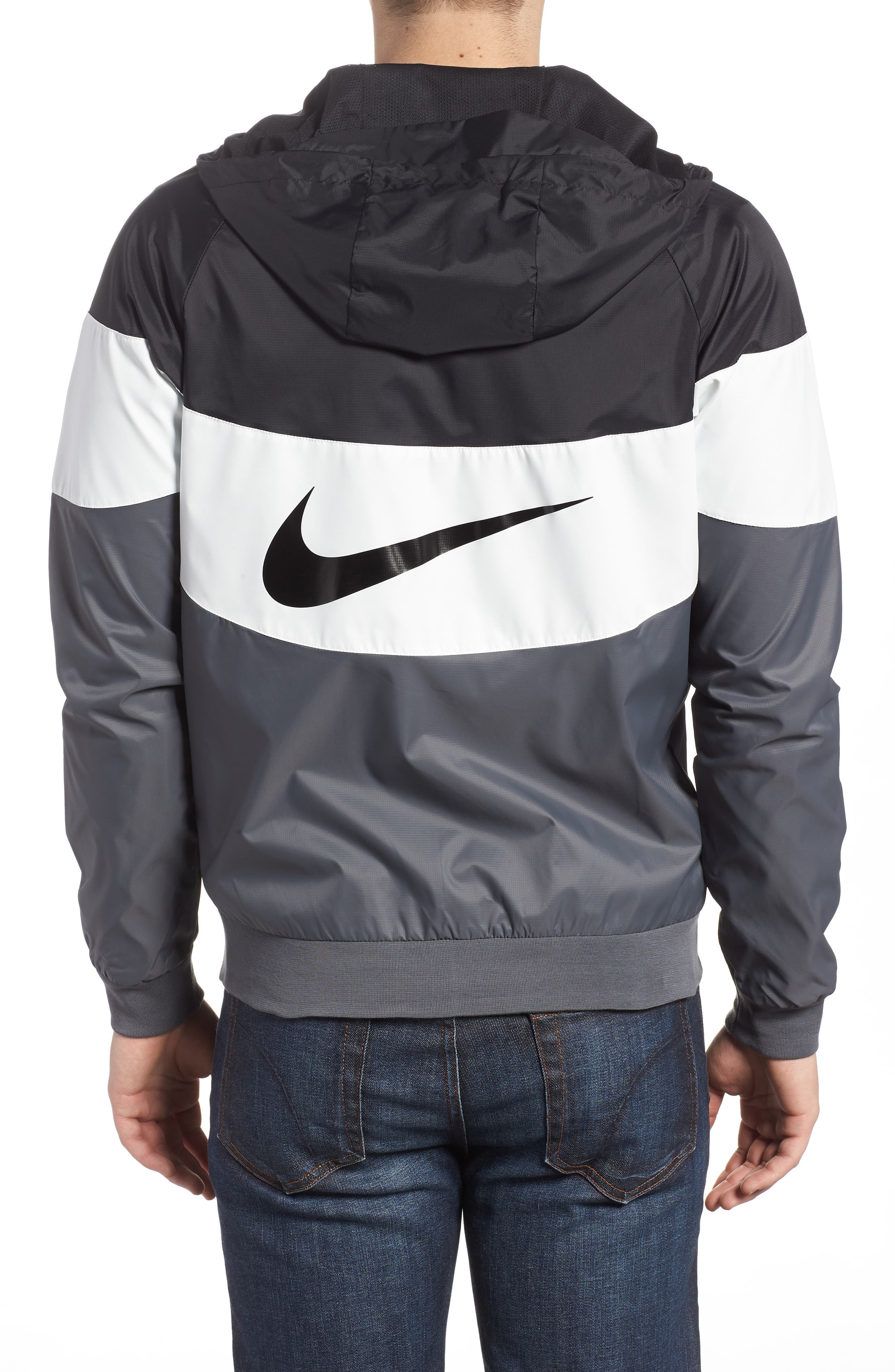 Windrunner Wind & Water Repellent Hooded Jacket,                             Alternate thumbnail 2, color,                             Black/ Summit White/ Dark Grey