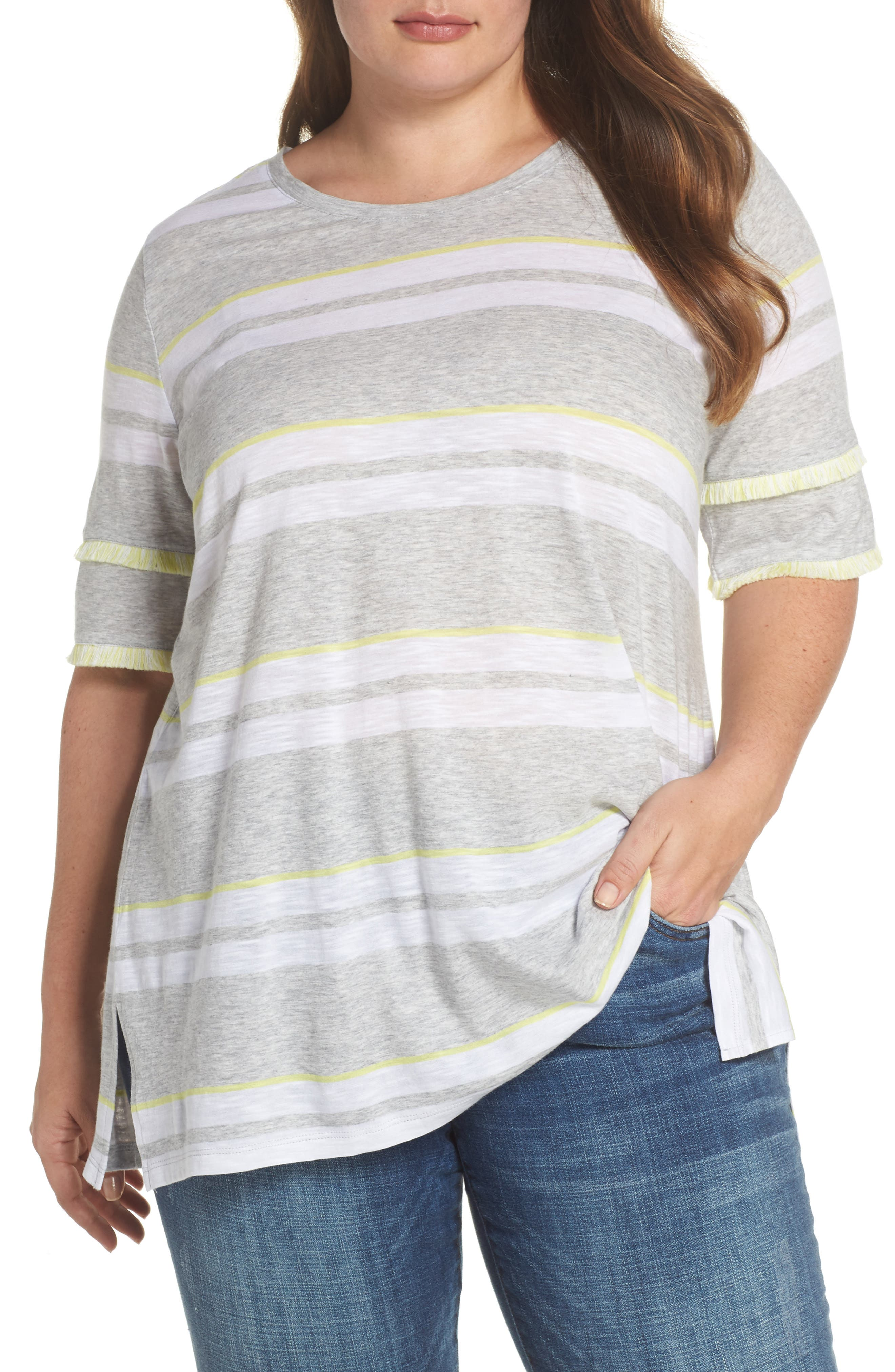 Fringe Sleeve Stadium Stripe Top,                         Main,                         color, Grey Heather