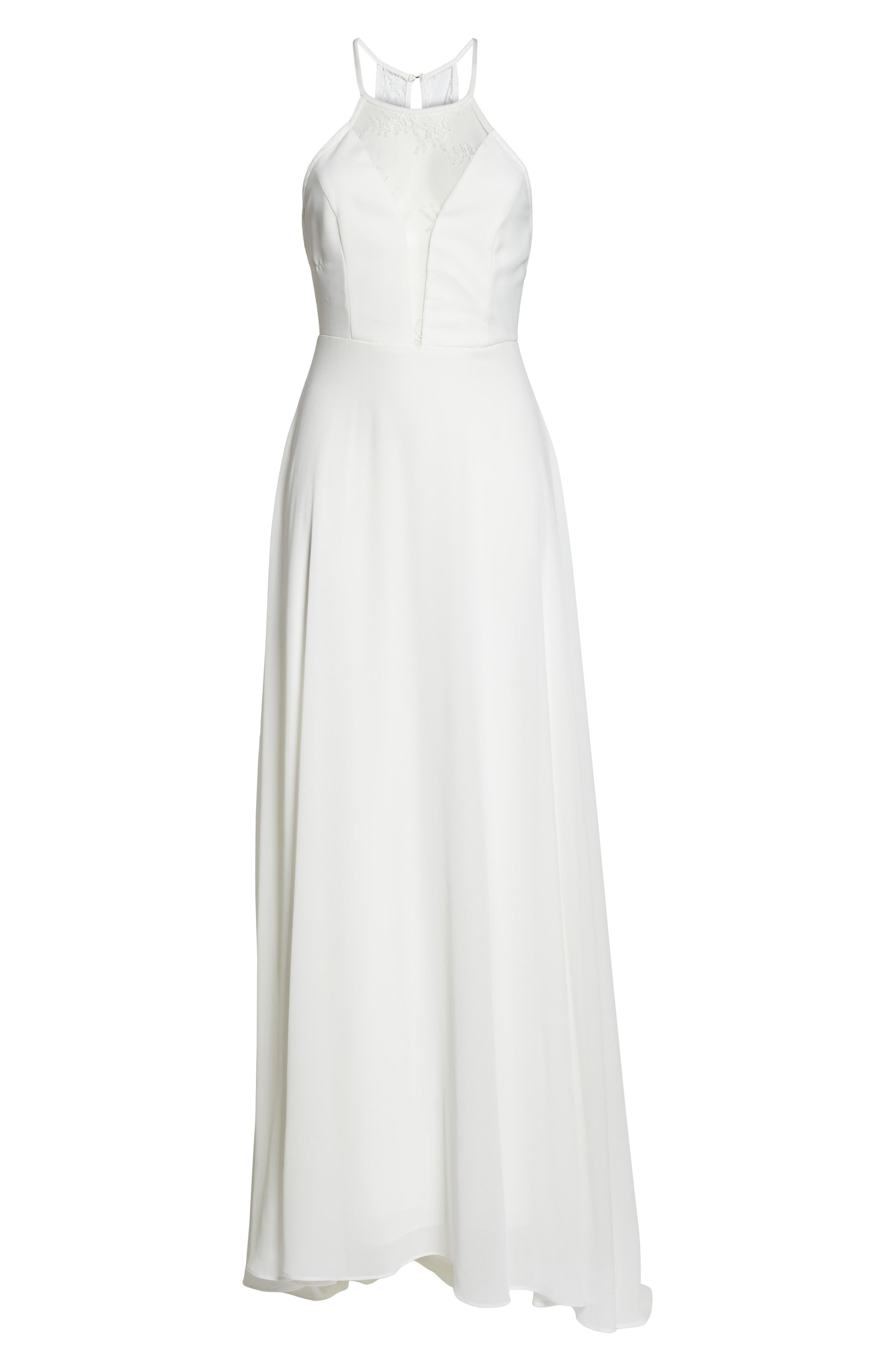 Lace Inset Halter Neck Gown,                             Alternate thumbnail 6, color,                             White