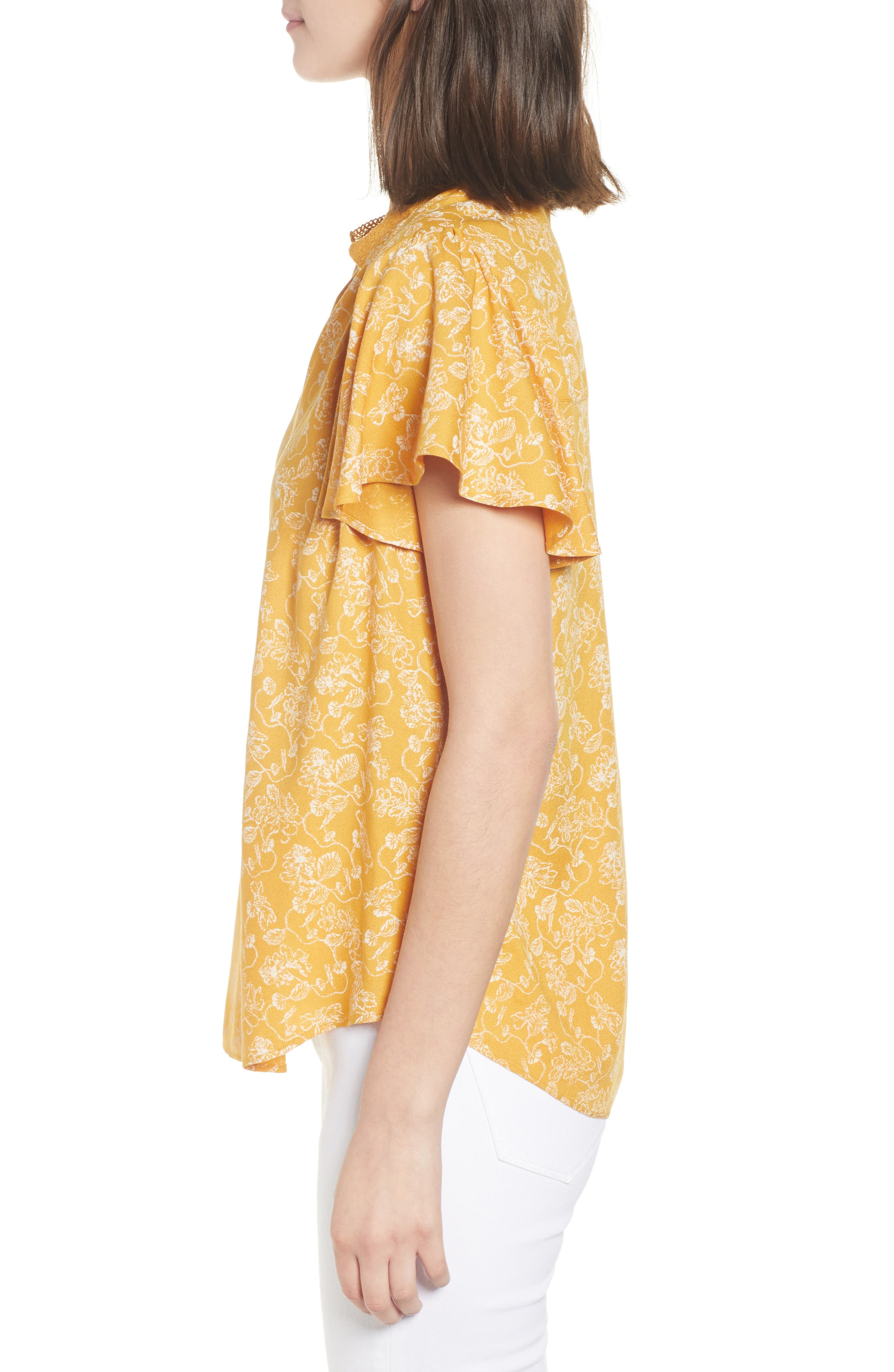 Split Neck Top,                             Alternate thumbnail 3, color,                             Yellow Gleam Floral Stencil