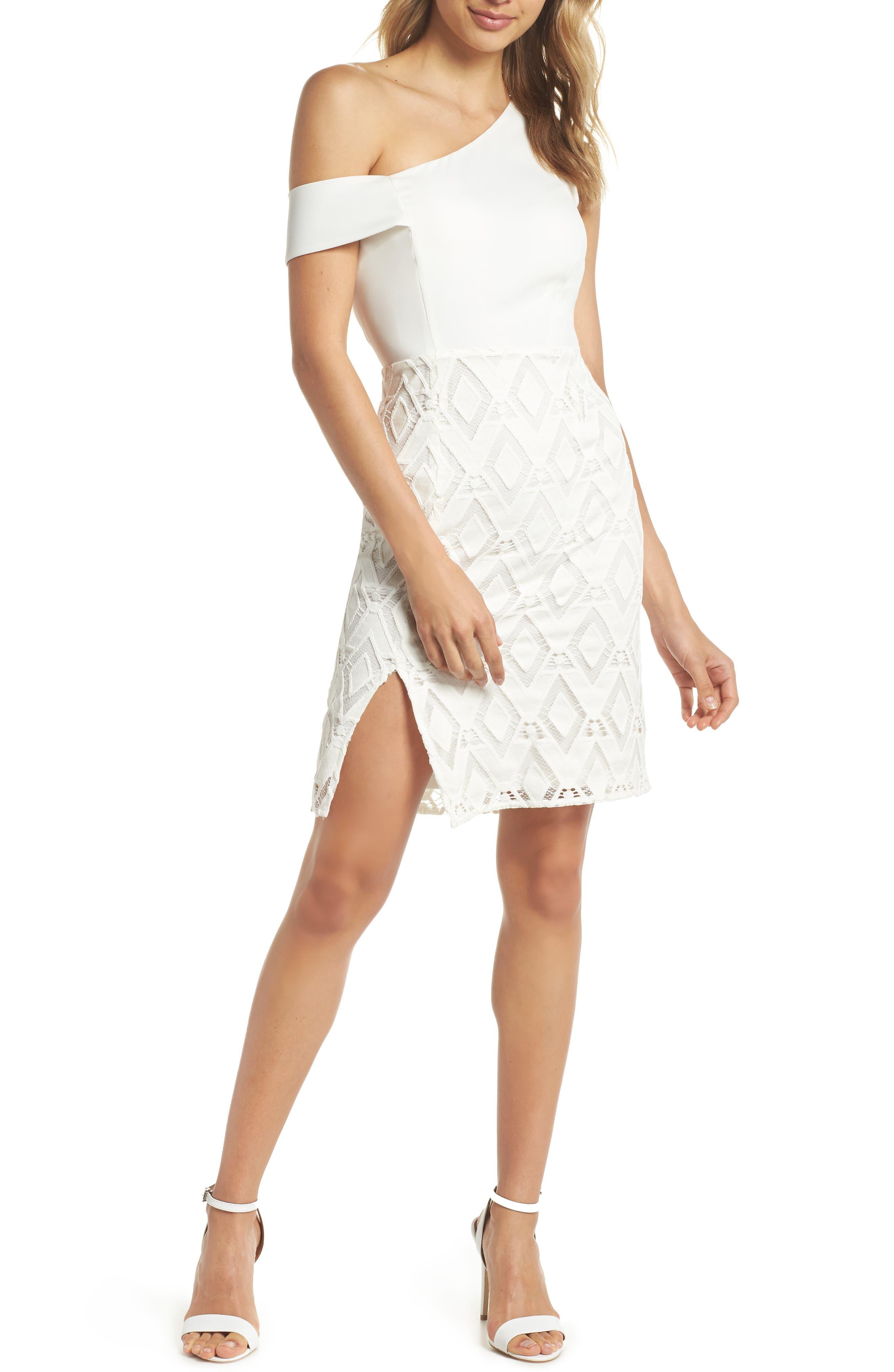 One-Shoulder Lace Sheath Dress,                         Main,                         color, White