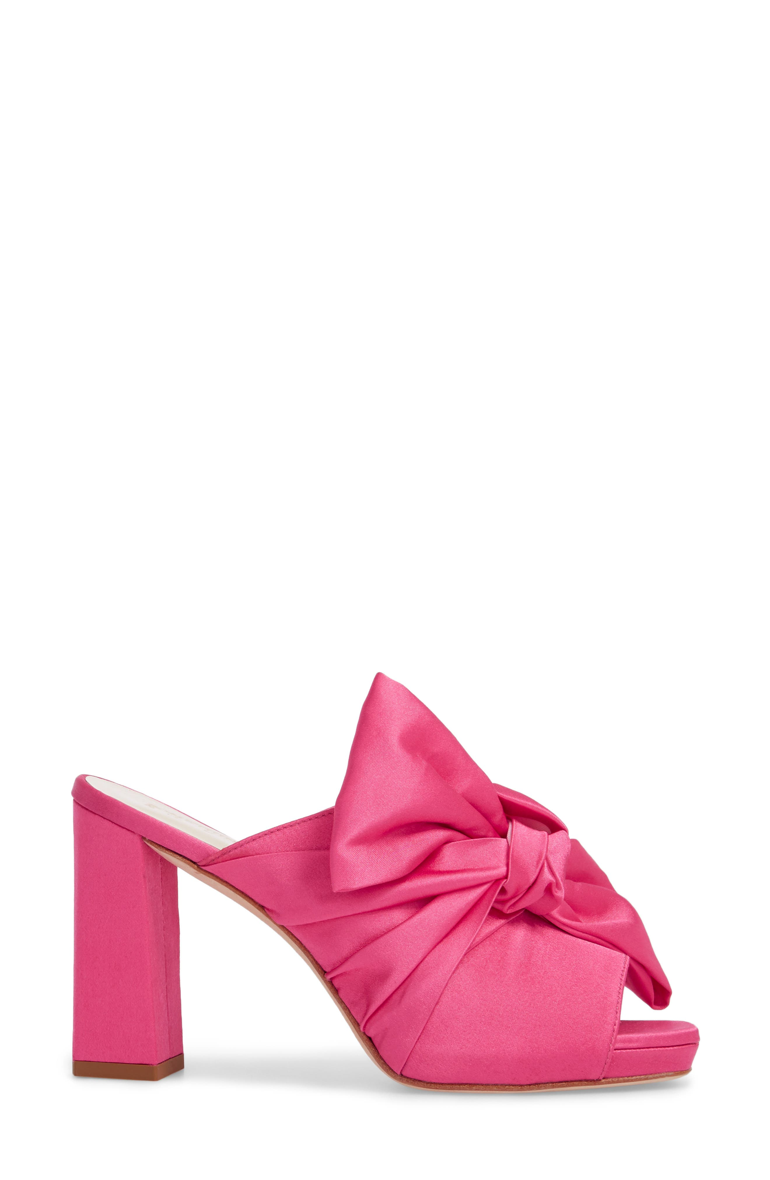 Elisa Knotted Bow Mule,                             Alternate thumbnail 3, color,                             Hot Pink Satin
