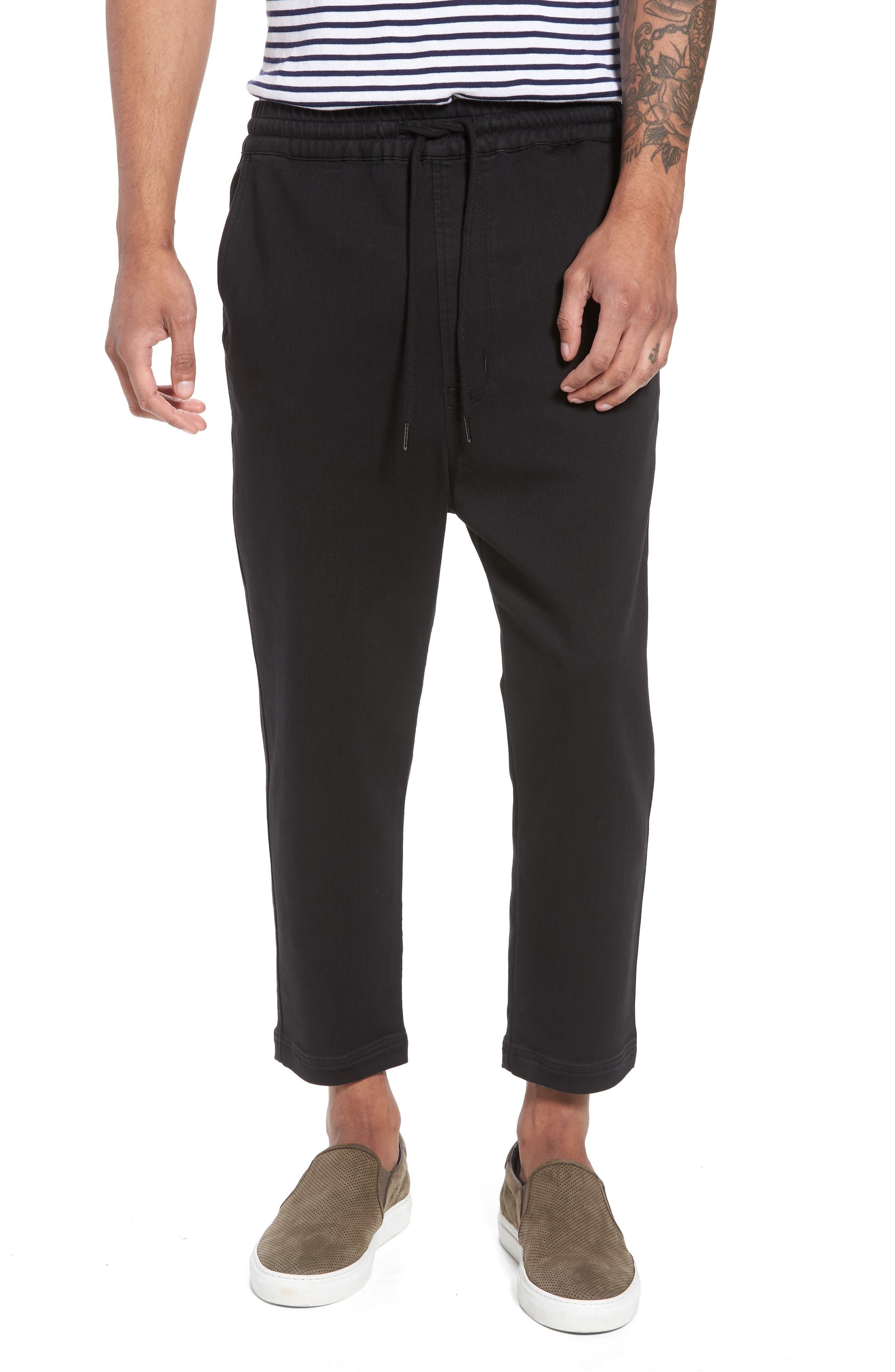 Hudson Leo Drop Crotch Pants,                             Main thumbnail 1, color,                             Black