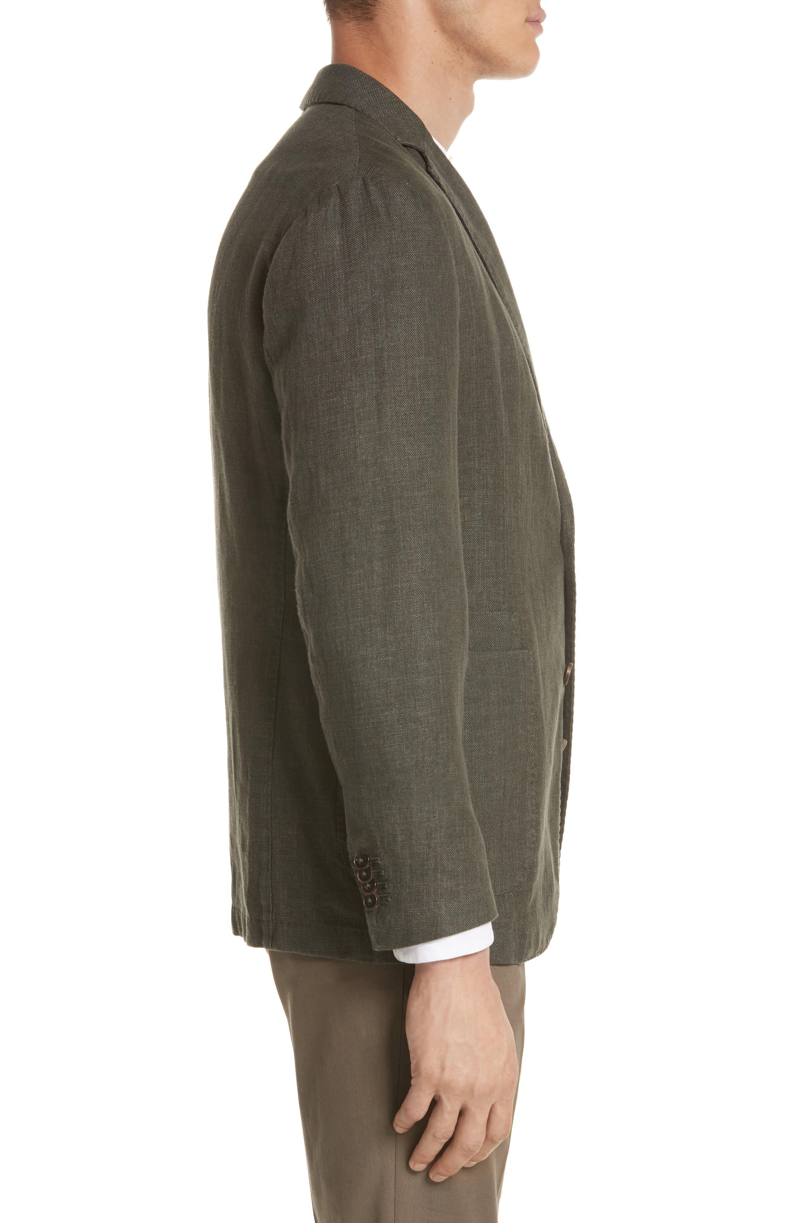Trim Fit Linen & Cotton Blazer,                             Alternate thumbnail 3, color,                             Green